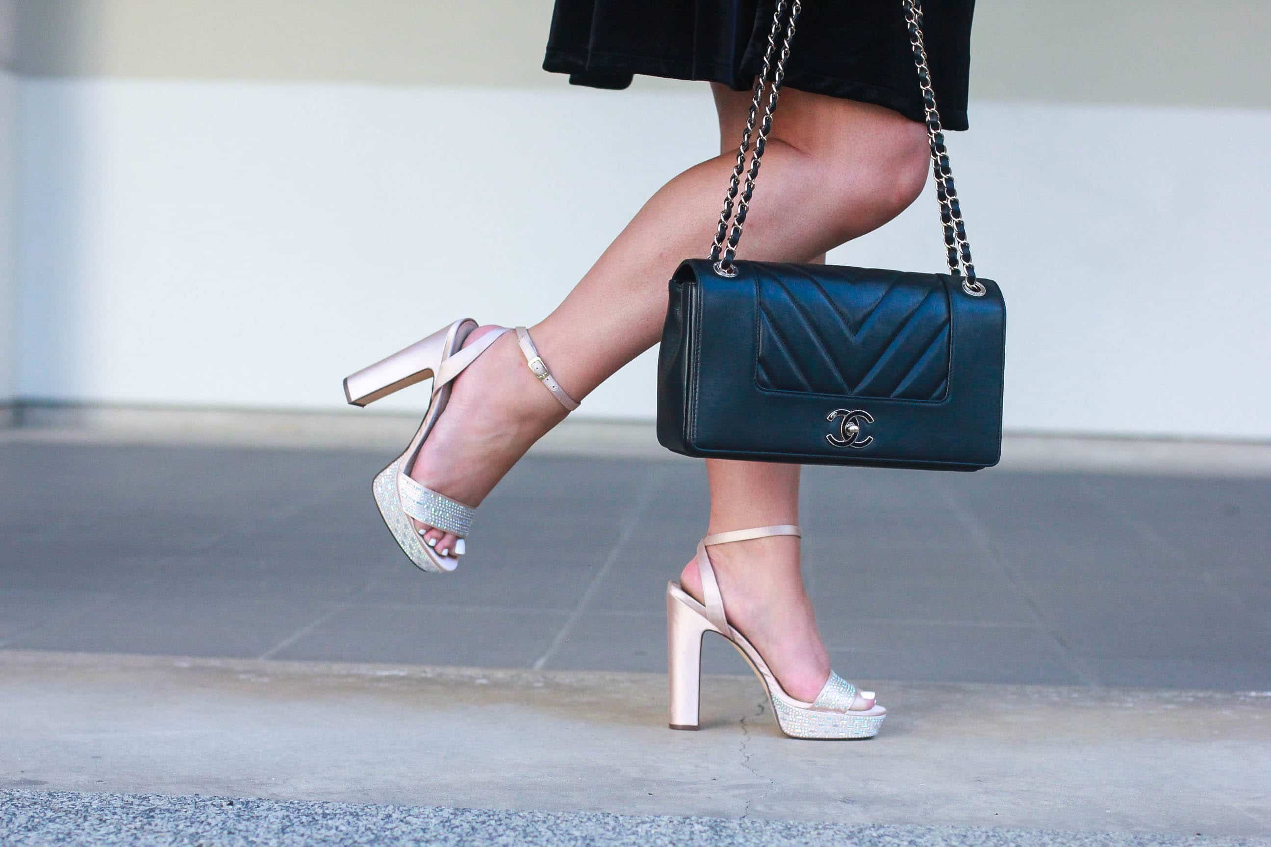 missyonmadison, missyonmadison instagram, missyonmadison blog, fashion blog, style blog, style blogger, style diaries, what i wore, old navy, velvet dress, old navy velvet dress, shaggy coat, fuzzy coat, fuzzy jacket, bedazzled shoes, platform heels, crystal heels, black velvet dress, chanel bag, chanel flap bag, what to wear for nye, nye 2017, nye 2018, nye style, new years eve style, new years style, fashion blogger, la blogger, travel blogger, melissa tierney,