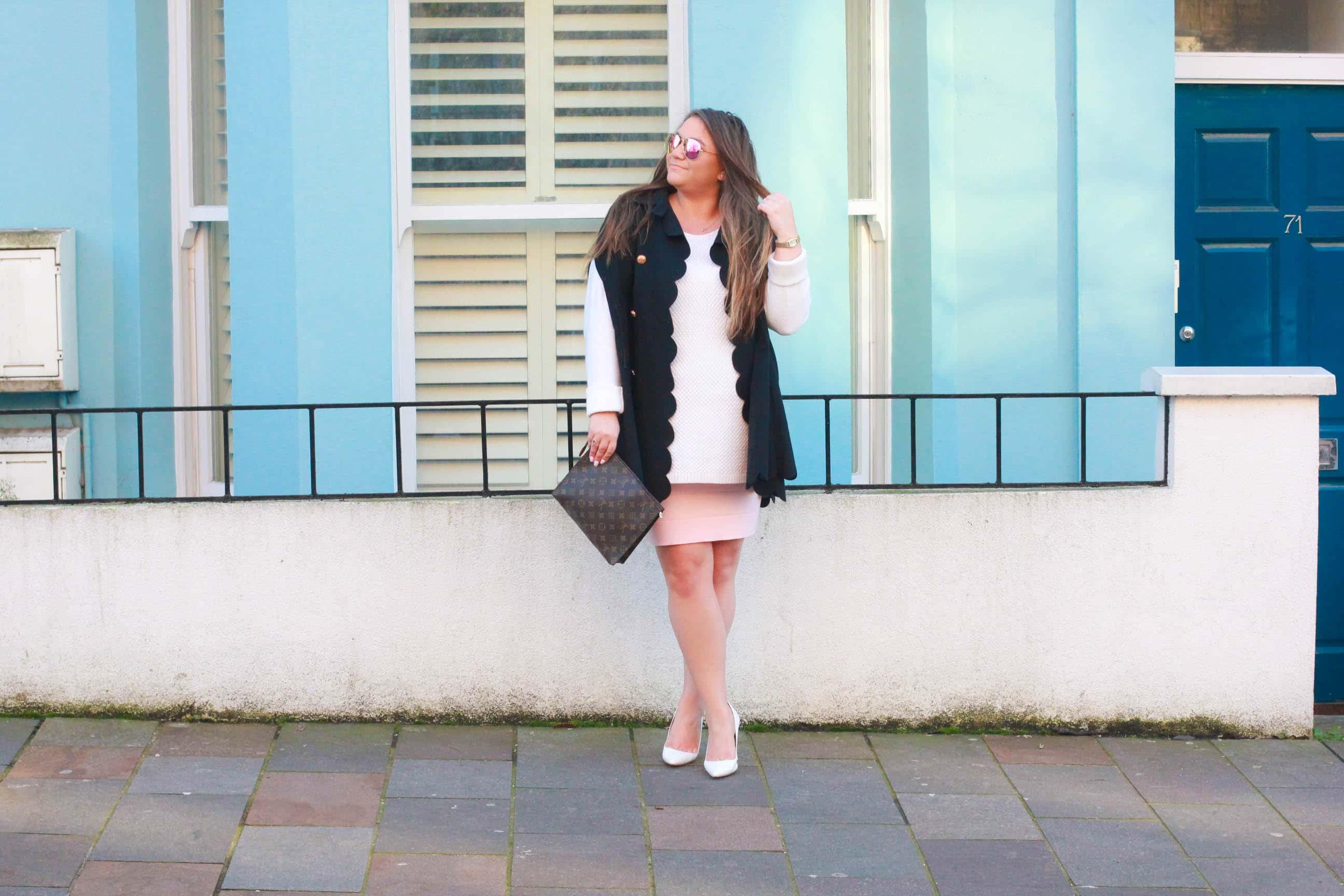 missyonmadison, missyonmadison blog, missyonmadison instagram, fashion blog, fashion blogger, style blog, style blogger, notting hill, london style, london fashion, shein cape, shein cape coat, cape coat, how to style a cape coat, how to style a cape, white cable knit sweater, bebe bandage skirt, pink bandage skirt, white pointed toe pumps, white pumps, louis vuitton, louis vuitton clutch, louis vuitton toiletry pouch, la blogger, notting hill colorful houses,