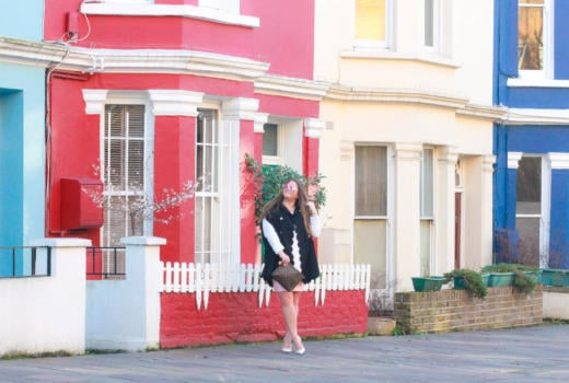 missyonmadison, missyonmadison blog, missyonmadison instagram, fashion blog, fashion blogger, style blog, style blogger, notting hill, london style, london fashion, shein cape, shein cape coat, cape coat, how to style a cape coat, how to style a cape, white cable knit sweater, bebe bandage skirt, pink bandage skirt, white pointed toe pumps, white pumps, louis vuitton, louis vuitton clutch, louis vuitton toiletry pouch, la blogger, notting hill colorful houses,