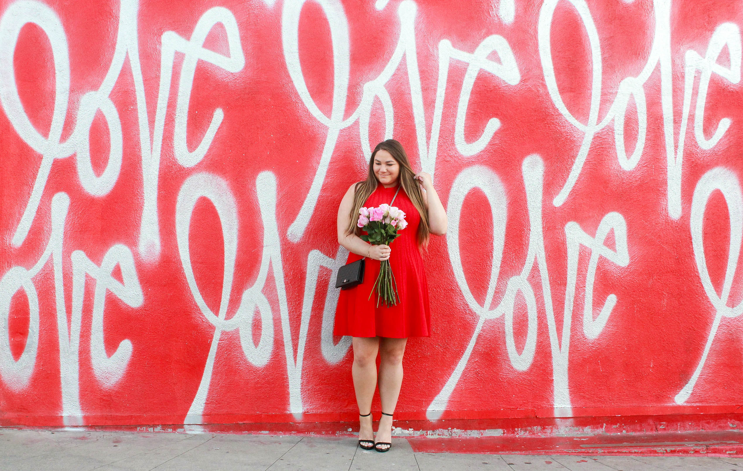 missyonmadison, missyonmadison instagram, melissa tierney, melissa tierney instagram, valentines day, valentines day 2018, valentines day date night, date night outfit, date night look, valentines day 2018 look, valentines day 2018 outfit, date night style, date night look, what to wear for valentines day, little red dress, red fit and flare dress, red sleeveless dress, black ankle strap heels, black ankle strap sandals, gucci mini bag, black gucci mini bag, fashion blogger, style blogger, style blog, date night looks, fresh roses, love wall culver city, love wall, love wall LA,