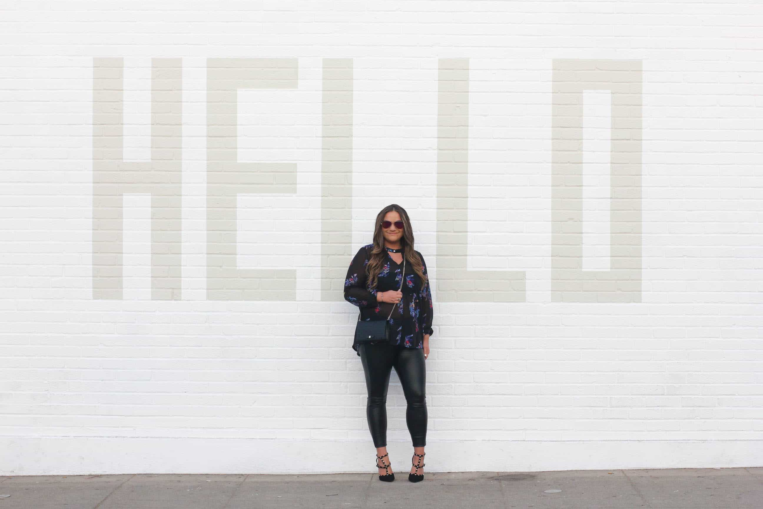 missyonmadison, missyonmadison instagram, missyonmadison blog, melissa tierney, fashion blog, fashion blogger, style blog, style blogger, la blogger, bloglovin, hello wall, wall crawl la, los angeles wall crawl, black rockstud pumps, valentino rockstud pumps, black studded pumps, gucci mini bag, gucci chain on wallet, gucci leather crossbody, diff eyewear aviators, diff eyewear pink aviators, hue leather leggings, hue leatherette leggings, faux leather leggings, floral sheer blouse, sheer choker blouse, sheer floral choker blouse, date night style, date night look, date night 2018, date night 2018 style, what to wear for date night,