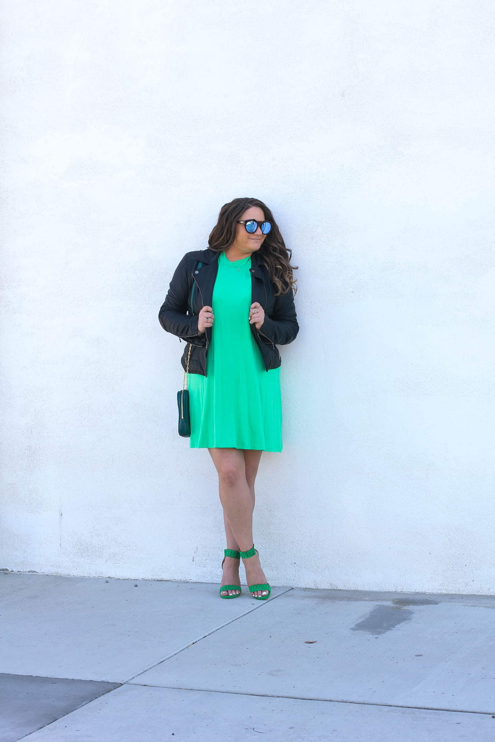 la blogger, style blogger, fashion blogger, missyonmadison, missyonmadison blog, missyonmadison instagram, melissa tierney, st patricks day, st patricks day 2018, green dress, what to wear for st patricks day, green look, bloglovin, green heels, green handbag, green outfit, moto jacket, faux leather moto jacket,