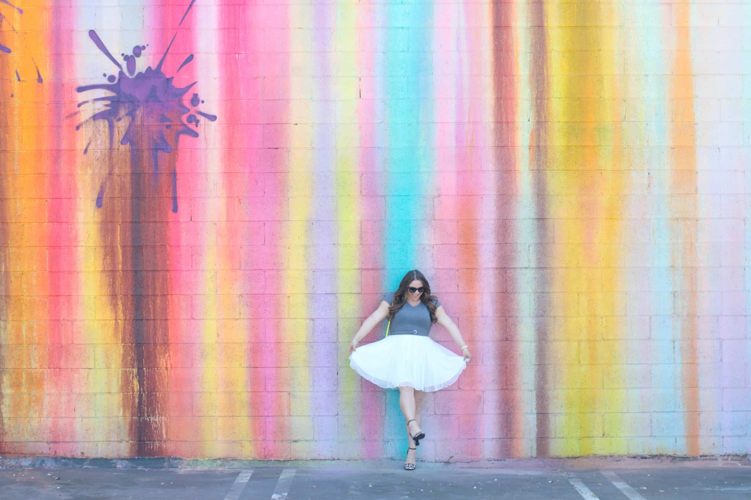 missyonmadison, missyonmadison blog, missyonmadison instagram, melissa tierney, melissa tierney blogger, la blogger, fashion blogger, fashion trends, eshakti, eshakti dress, tulle skirt, tulle dress, bloglovin, style blog, style blogger, spring style, wall crawl, la colorful walls, la wall murals, gigi ny crossbody bag, gigi new york bag, gigi new york crossbody bag, gray bodysuit, sugar brand heels, sugar brand shoes, black floral heeled sandals, black floral ankle strap heels, fendi sunglasses, spring style 2018,