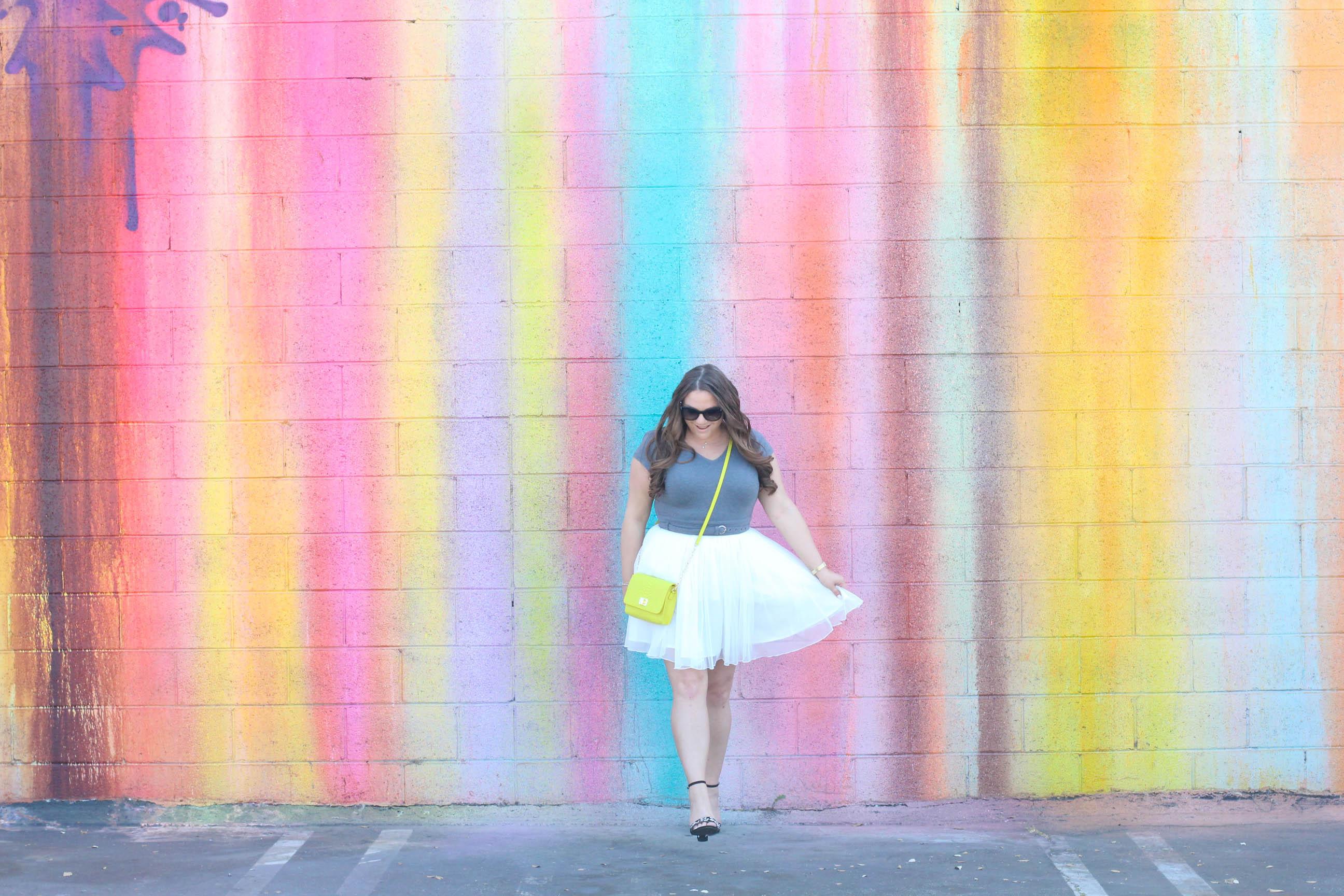 missyonmadison, missyonmadison blog, missyonmadison instagram, melissa tierney, melissa tierney blogger, la blogger, fashion blogger, fashion trends, eshakti, eshakti dress, tulle skirt, tulle dress, bloglovin, style blog, style blogger, spring style, wall crawl, la colorful walls, la wall murals, gigi ny crossbody bag, gigi new york bag, gigi new york crossbody bag, gray bodysuit, sugar brand heels, sugar brand shoes, black floral heeled sandals, black floral ankle strap heels, fendi sunglasses, spring style 2018,