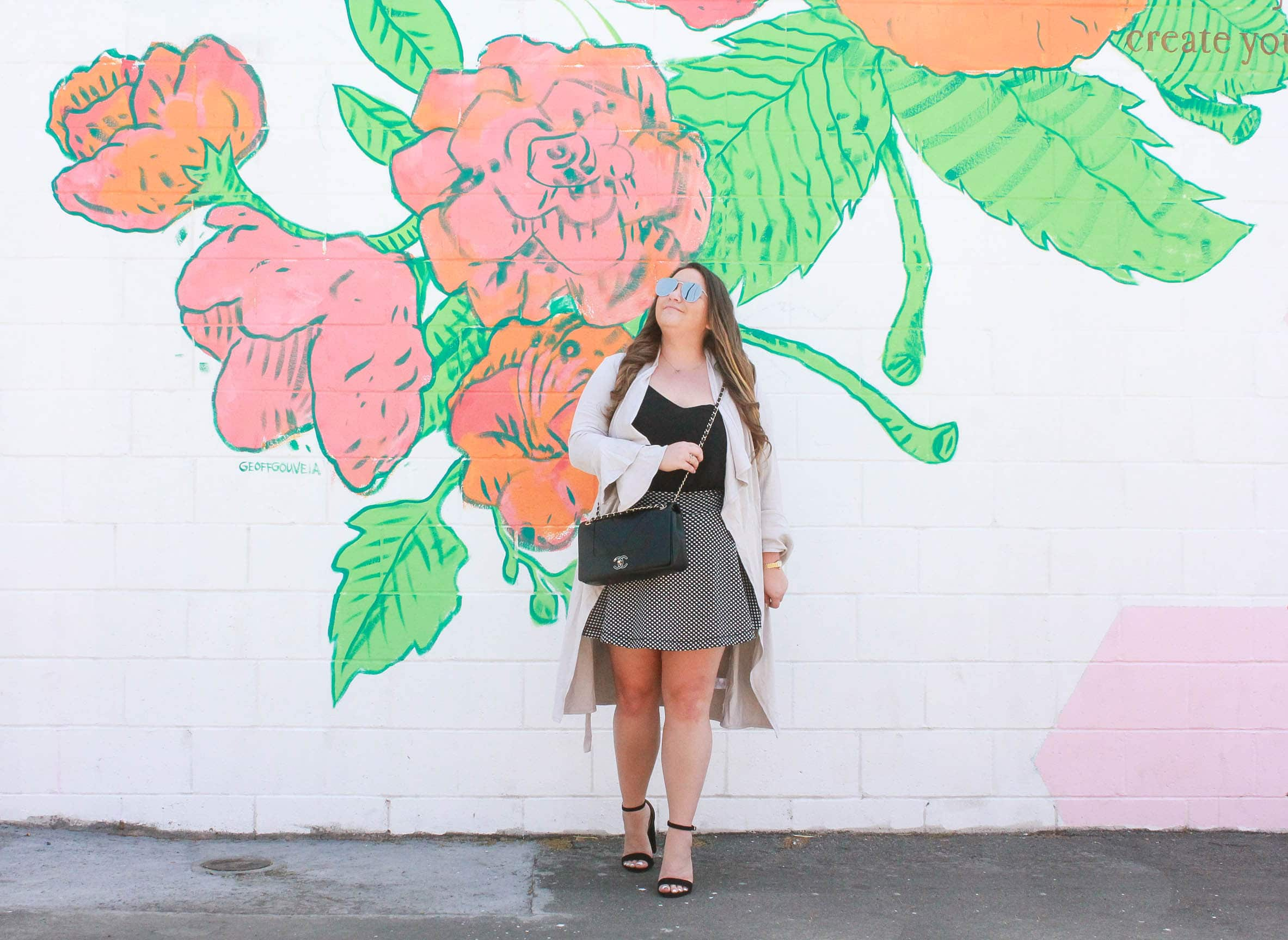 missyonmadison, missyonmadison blog, missyonmadison instagram, fashion blog, fashion blogger, style blog, styleblogger, style blogger, fashion blog, fashion blogger, la blogger, gray duster cardigan, rose wall, studio diy wall crawl, gray duster, black chiffon camisole, black camisole, black swing camisole, chanel bag, chanel flap bag, black chanel flap bag, polka dot skirt, polka dot skater skirt, polka dot fit and flare skirt, bloglovin, black ankle strap heels, black chunky heels,