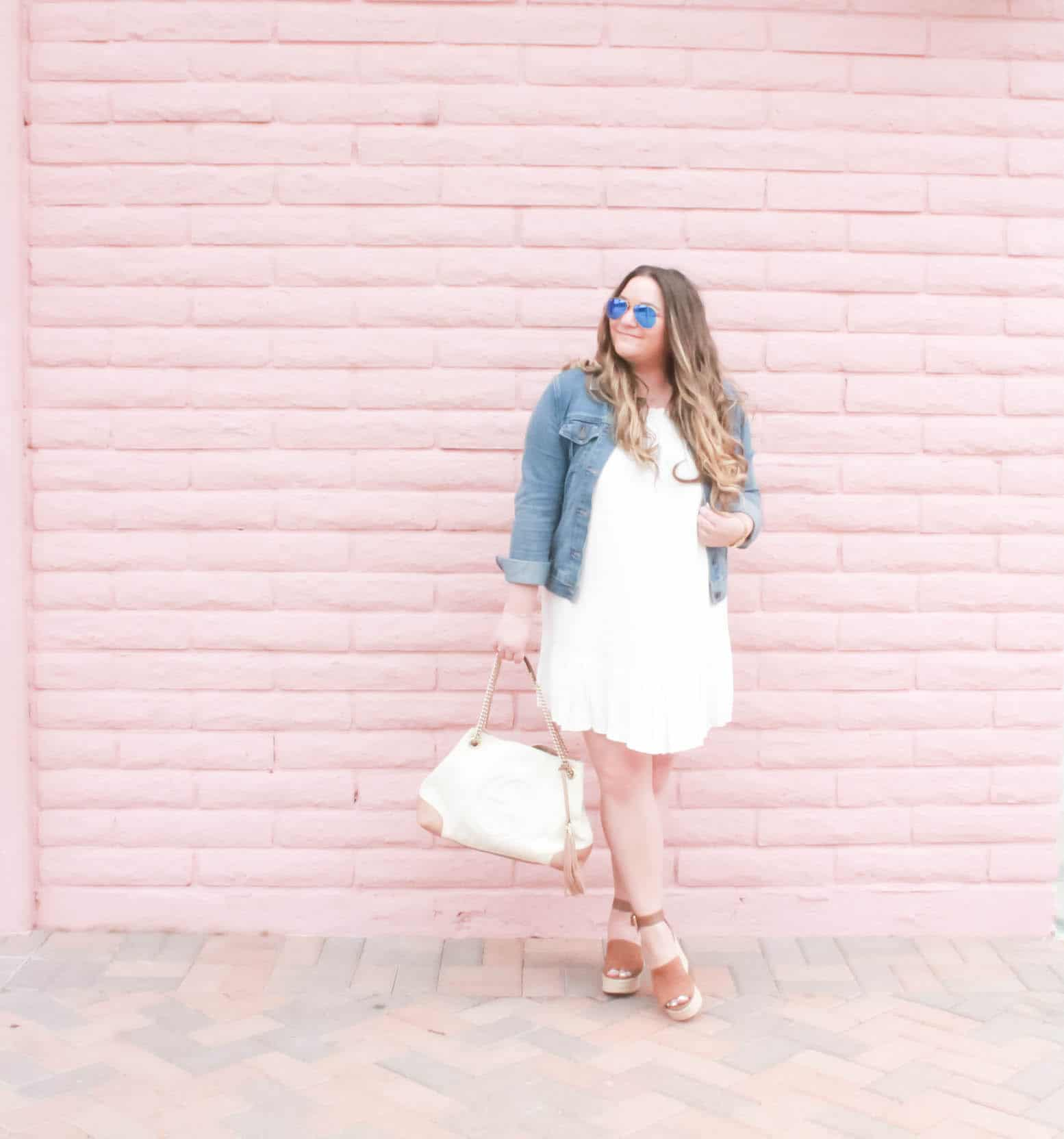 missyonmadison, gucci soho tote, fashion inspo, outfit inspo, missyonmadison blog, missyonmadison instagram, melissa tierney, fashion blog, fashion blogger,style blog, style blogger, gucci, gucci white soho tote, raybans, old navy denim jacket,white tart collections dress, tart collections liz dress, marc fischer shoes, tan platform wedges, summer style, spring style, summer 2018 style, la blogger,