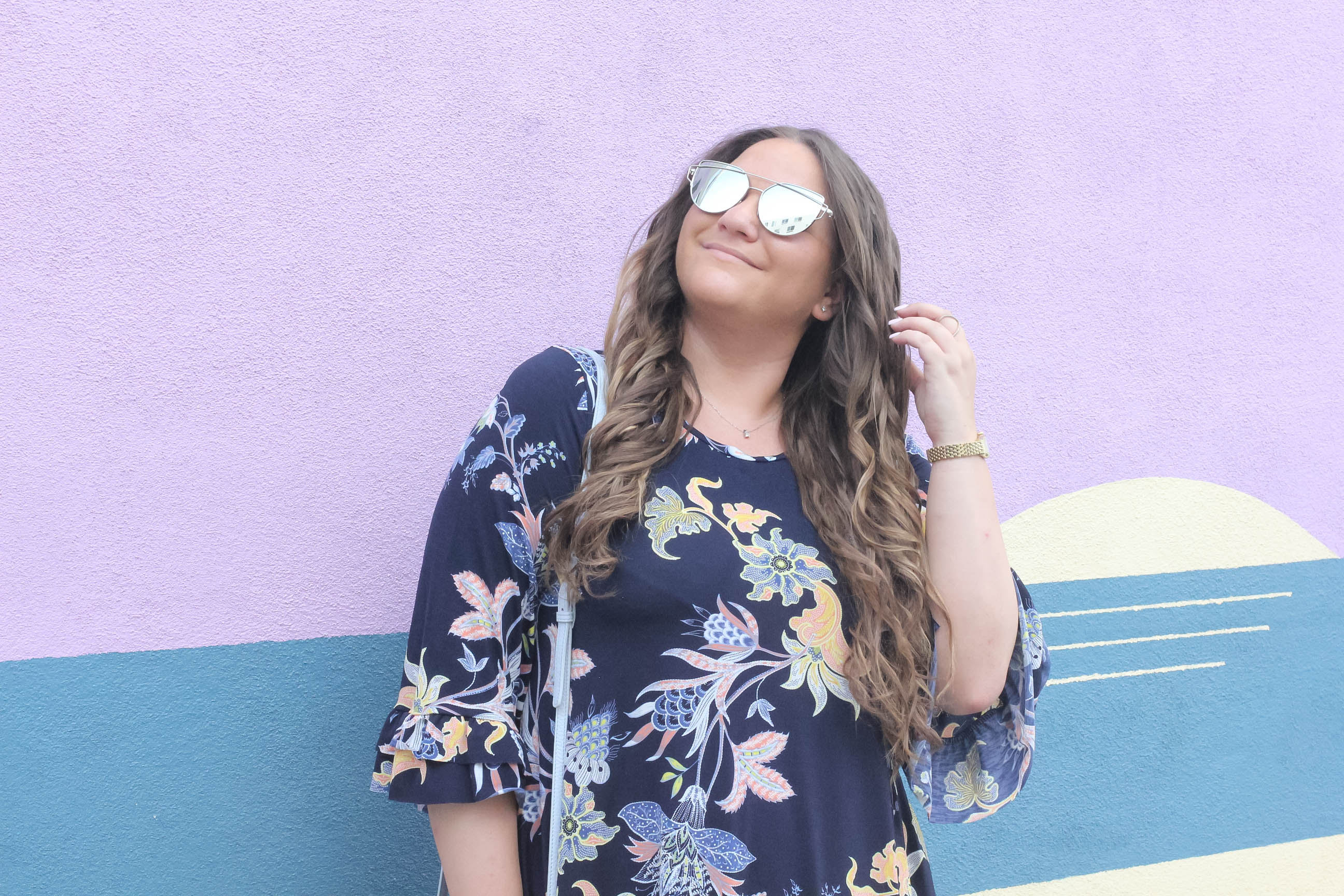 missyonmadison, missyonmadison instagram, missyonmadison blog, melissa tierney, fashion blog, fashion blogger, style blog, style blogger, floral dress, navy bell sleeve floral dress, bell sleeve dress, floral bell sleeve dress, bell sleeve navy dress, bell sleeve dress, white heels, white ankle strap heels, gigi new york bag, gigi new york crossbody bag, crossbody bag, raybans, la wall crawl, la wall art, palm tree wall, purple wall, bloglovin, la blogger,