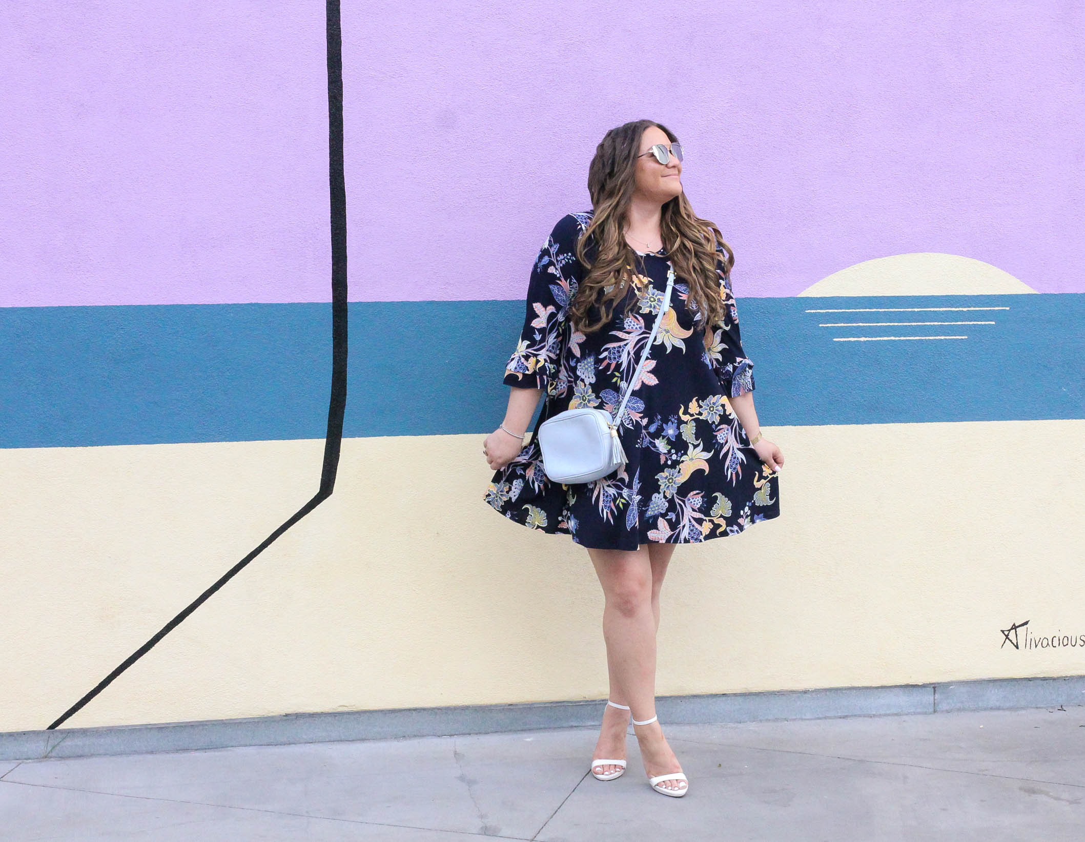 missyonmadison, missyonmadison instagram, missyonmadison blog, melissa tierney, fashion blog, fashion blogger, style blog, style blogger, floral dress, navy bell sleeve floral dress, bell sleeve dress, floral bell sleeve dress, bell sleeve navy dress, bell sleeve dress, white heels, white ankle strap heels, gigi new york bag, gigi new york crossbody bag, crossbody bag, raybans, la wall crawl, la wall art, palm tree wall, purple wall, bloglovin, la blogger,