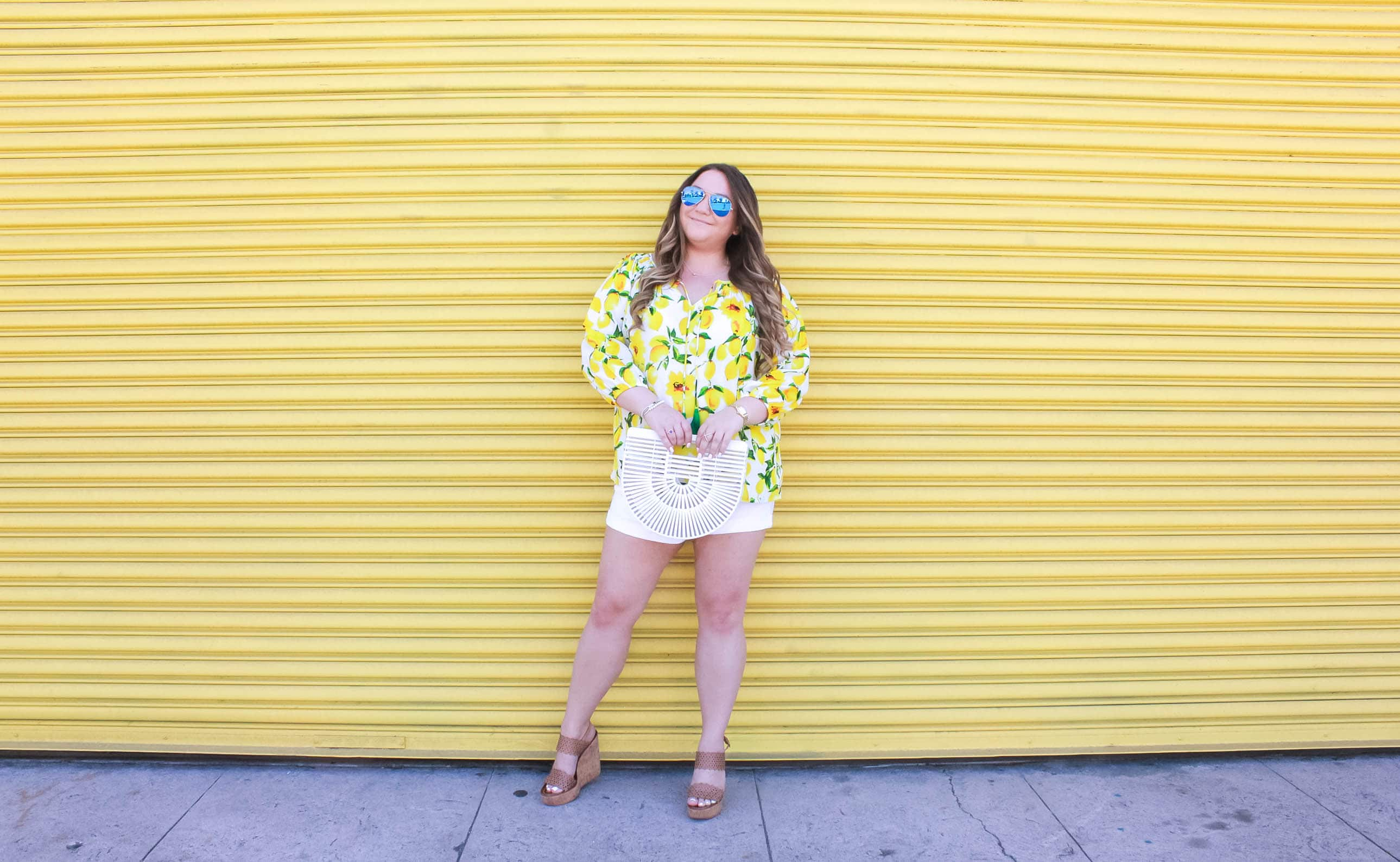 missyonmadison, missyonmadison instagram, missyonmadison blog, fahsion blog, fahsion blogger, style blog, style blogger, ootd, ebay fashion, ebay fashion finds, cult gaia bag, cult gaia ark bag, white ark bag, white cult gaia bag, bloglovin, fashion blogger, style blog, style blogger, raybans, tory burch wedges, tory burch sandals, lemon blouse, lemon shirt, white denim shorts, fashion inspo, summer style, summer style guide