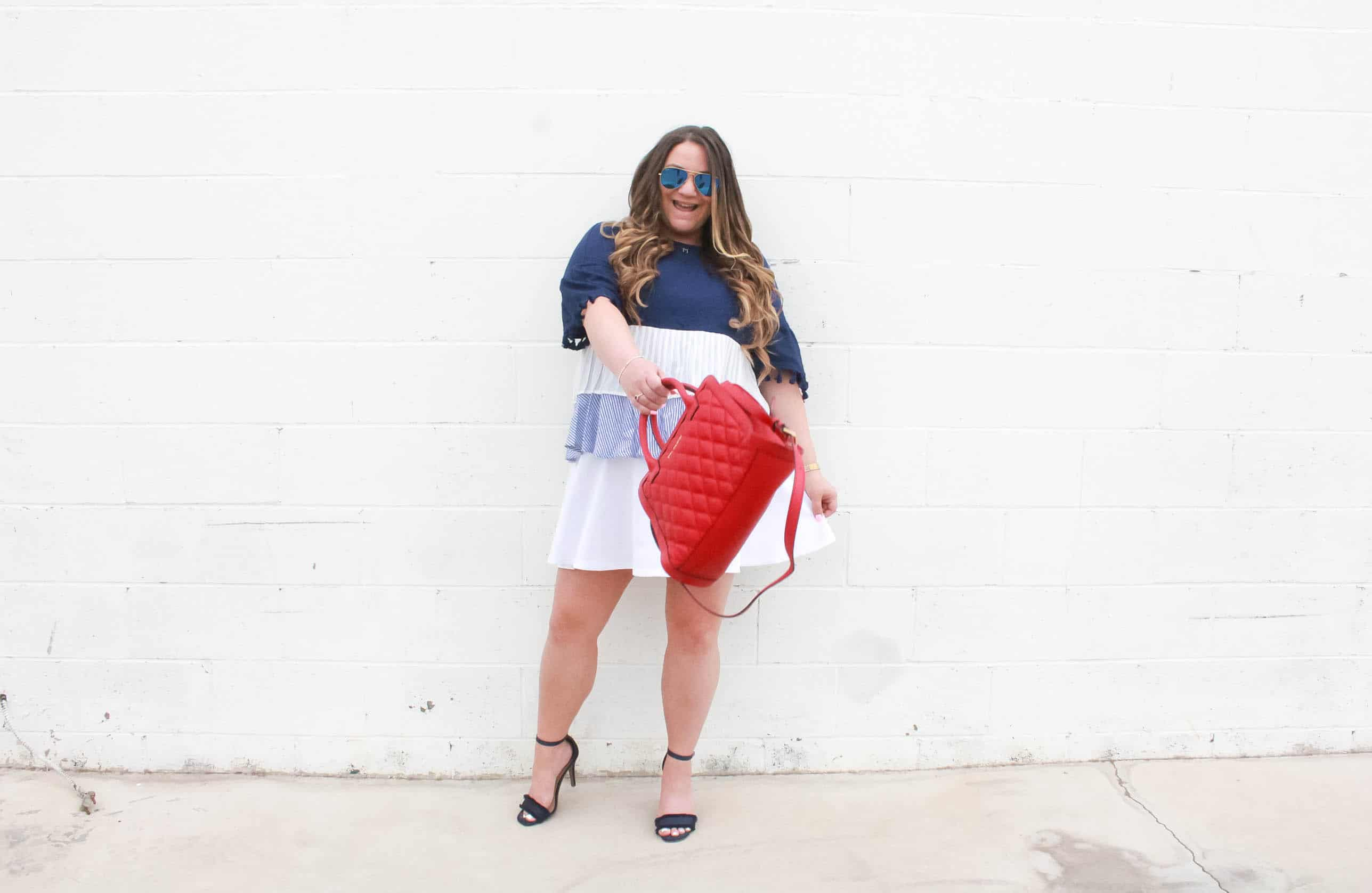 missyonmadison, missyonmadison blog, missyonmadison instagram, melissa tierney, red leather satchel, red satchel bag, kate spade satchel, vera bradley satchel, skies are blue, skies are blue clothing, skies are blue casey tassel sleeve contrast top, white skater skirt, white skirt, blue ankle strap heels, blue ankle strap heeled sandals, raybans, 4th of july look, 4th of july style, red white and blue, red white and blue outfit, july 4th look, bloglovin, blogger style, fashion blogger, style blog, style blogger,