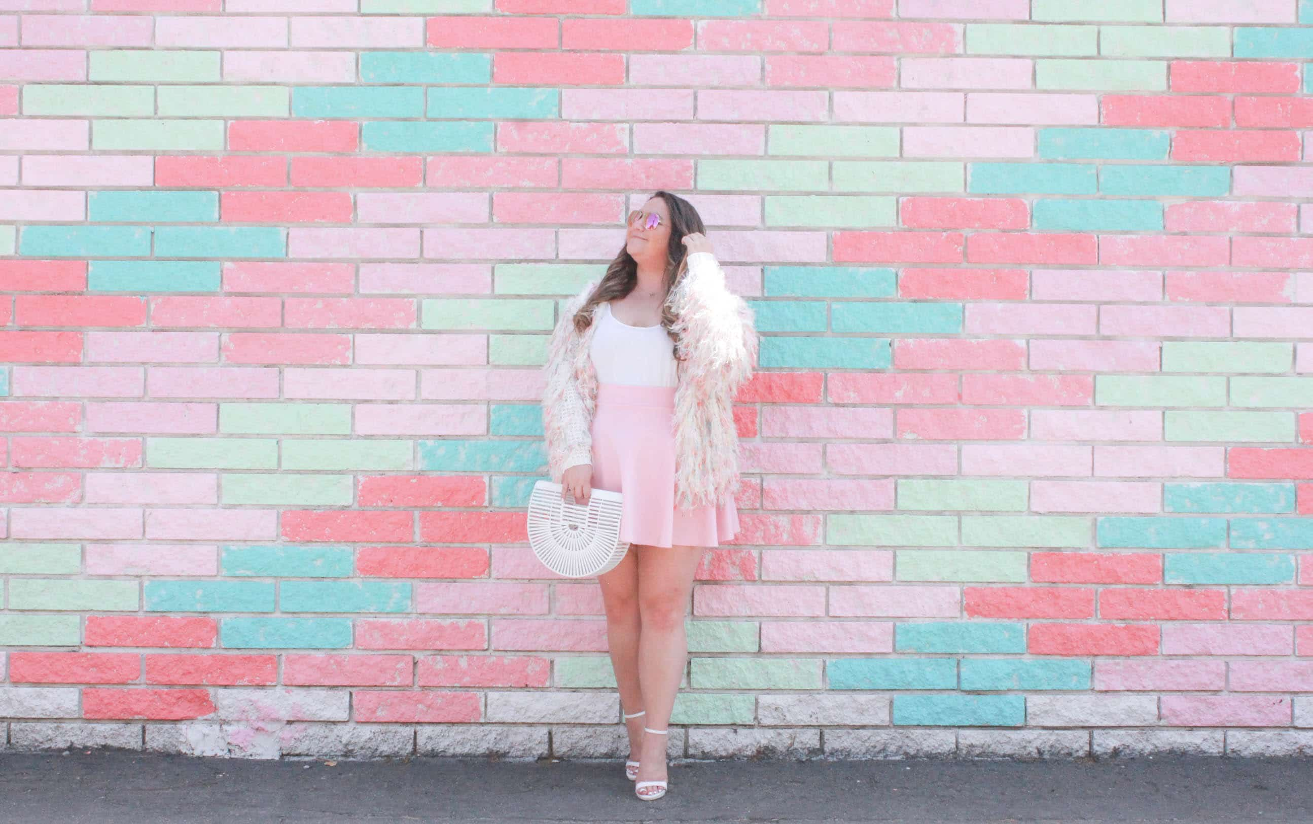 missyonmadison, missyonmadison blog, missyonmadison blogger, outfit inspo, outfit inspiration, blogger, fashion blogger, style blogger, style blog, fashion blog, fashion blogger, melissa tierney, melissa tierney blog, melissa tierney blogger, currently wearing, style blog, style blogger, fashion blogger, fashion blog, la blogger, fringe cardigan, olive and pepper, rainbow fringe cardigan, white ankle strap heels, white ankle strap sandals, pink skater skirt, pink skirt, white chiffon camisole, white camisole, white fringe cardigan, white cult gaia bag, white ark bag, raybans, rayban aviators, bloglovin, blogger style,