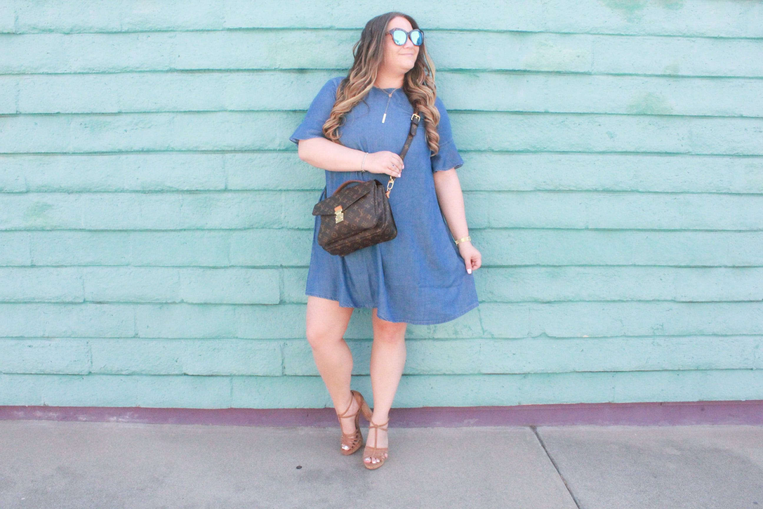 missyonmadison,missyonmadison blog, missyonmadison blogger, missyonmadison instagram, la blogger, fashion blog, fashion blogger, style blog, style blogger, what i wore, currently wearing, bloglovin, chambray dress, chambray style, how to wear chambray, simply be usa, simply be, simply be dress, louis vuitton, louis vuitton pouchette metis, louis vuitton crossbody bag, cork heels, charles david heels, style inspo, outfit inspo,