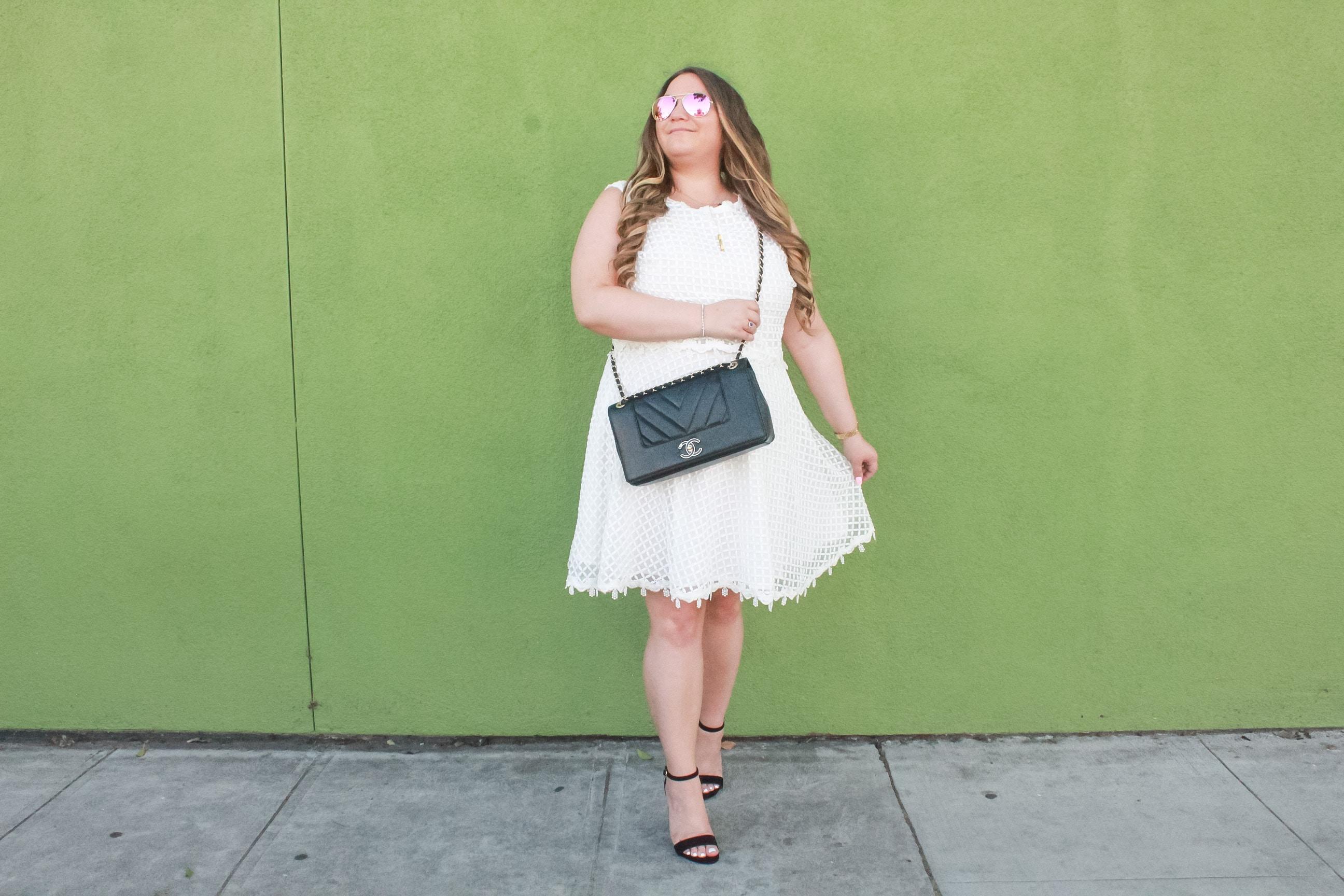 missyonmadison, missyonmadison blog, missyonmadison blogger, la blogger, fashion blog, fashion blogger, fashion inspo, simply be, simply be usa, simply be dress, white eyelet dress, white a line dress, white summer dress, little white dress, white dresses under $100, summer dresses under $100, bloglovin, style inspo, black ankle strap heels, steve madden black ankle strap heels, black chanel flap bag, black chanel bag, chanel bag, raybans, aviators, style watch, melissa tierney, missyonmadison blog,