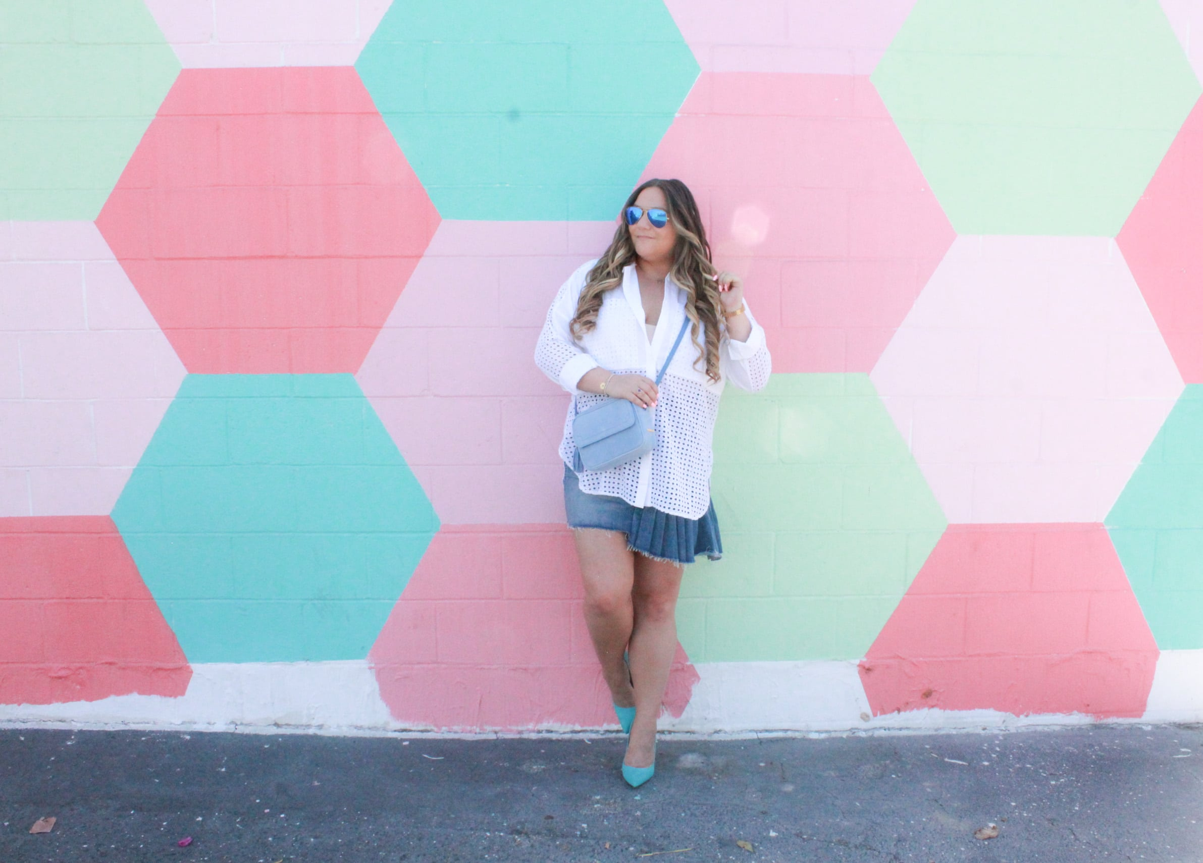 missyonmadison, missyonmadison blog, bloglovin, fashion blog, fashion blogger, style blog, style blogger, fashion inspo, outfit inspo, habitual, habitual denim skirt, perforated blouse, white button down blouse, white button down shirt, denim skirt, la blogger, style diaries, ami clubwear, ami clubwear heels, teal heels, teal pumps, blue pumps, blue heels, summer outfit inspo, gigi new york, gigi new york crossbody bag,