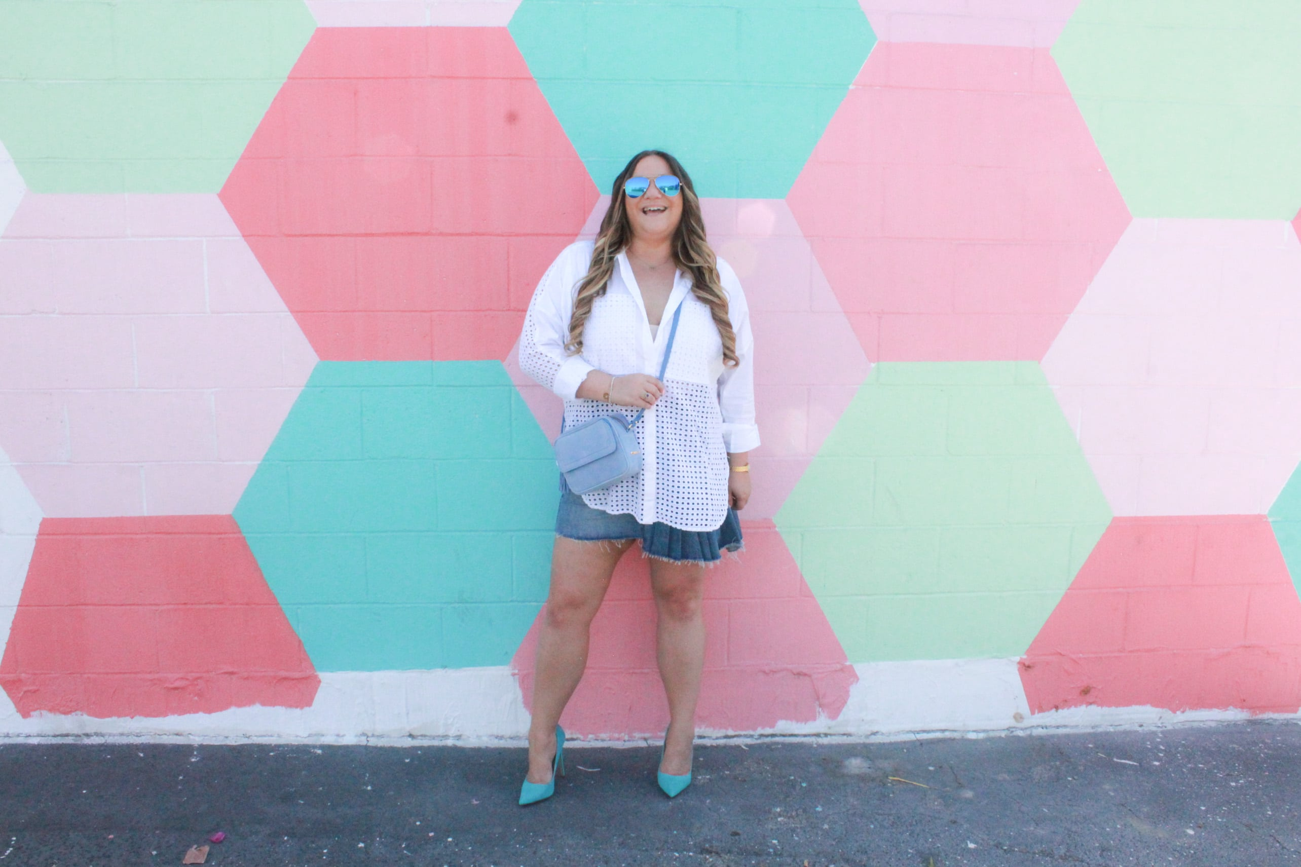 missyonmadison, missyonmadison blog, bloglovin, fashion blog, fashion blogger, style blog, style blogger, fashion inspo, outfit inspo, habitual, habitual denim skirt, perforated blouse, white button down blouse, white button down shirt, denim skirt, la blogger, style diaries, ami clubwear, ami clubwear heels, teal heels, teal pumps, blue pumps, blue heels, summer outfit inspo, gigi new york, gigi new york crossbody bag,
