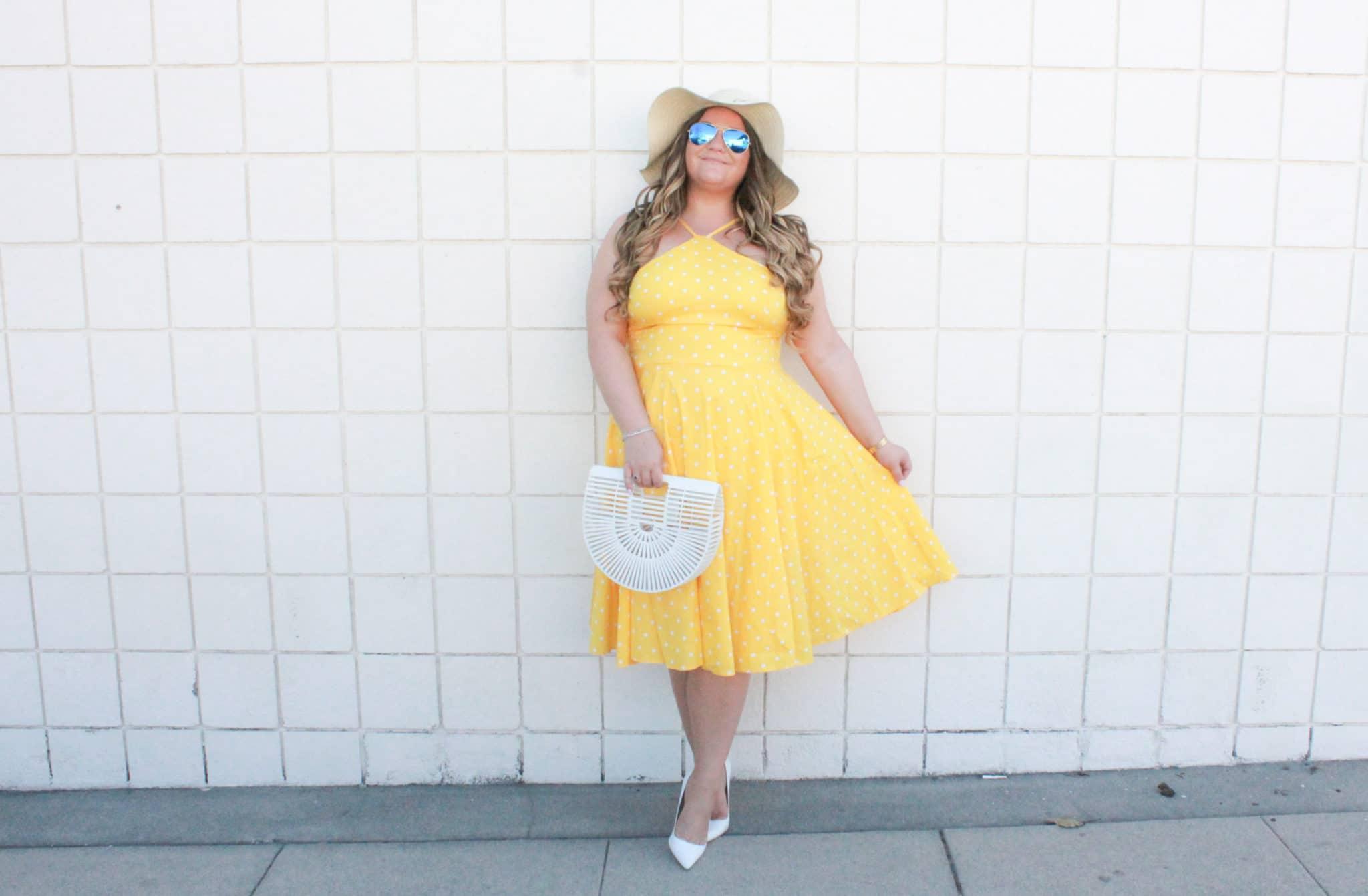 missyonmadison, missyonmadison blog, missyonmadison blogger, missyonmadison instagram, la blogger, fashion blog, fashion blogger, style blog, style blogger, venus swimwear, yellow polka dot dress, yellow dress, white pumps, white pointed toe pumps, la blogger, fashion inspo, summer outfit inspo, white ark bag, white cult gaia bag, raybans, bloglovin, outfit inspo, sunshine and chill floppy hat, beach floppy hat, beach hat, floppy hat,
