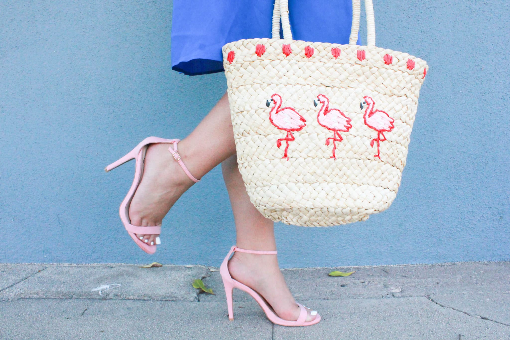 missyonmadison, missyonmadison blog, missyonmadison instagram, la blogger, fashion blog, fashion blogger, style blog, style blogger, pink ankle strap heels, pink heels, la blogger, bloglovin, fashion inspo, summer fashion, summer style, blue halter dress, cobalt blue halter dress, flamingo straw tote, flamingo purse, extensions, hair extensions,