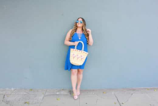 missyonmadison, missyonmadison blog, missyonmadison instagram, la blogger, fashion blog, fashion blogger, style blog, style blogger, pink ankle strap heels, pink heels, la blogger, bloglovin, fashion inspo, summer fashion, summer style, blue halter dress, cobalt blue halter dress, flamingo straw tote, flamingo purse, extensions, hair extensions,