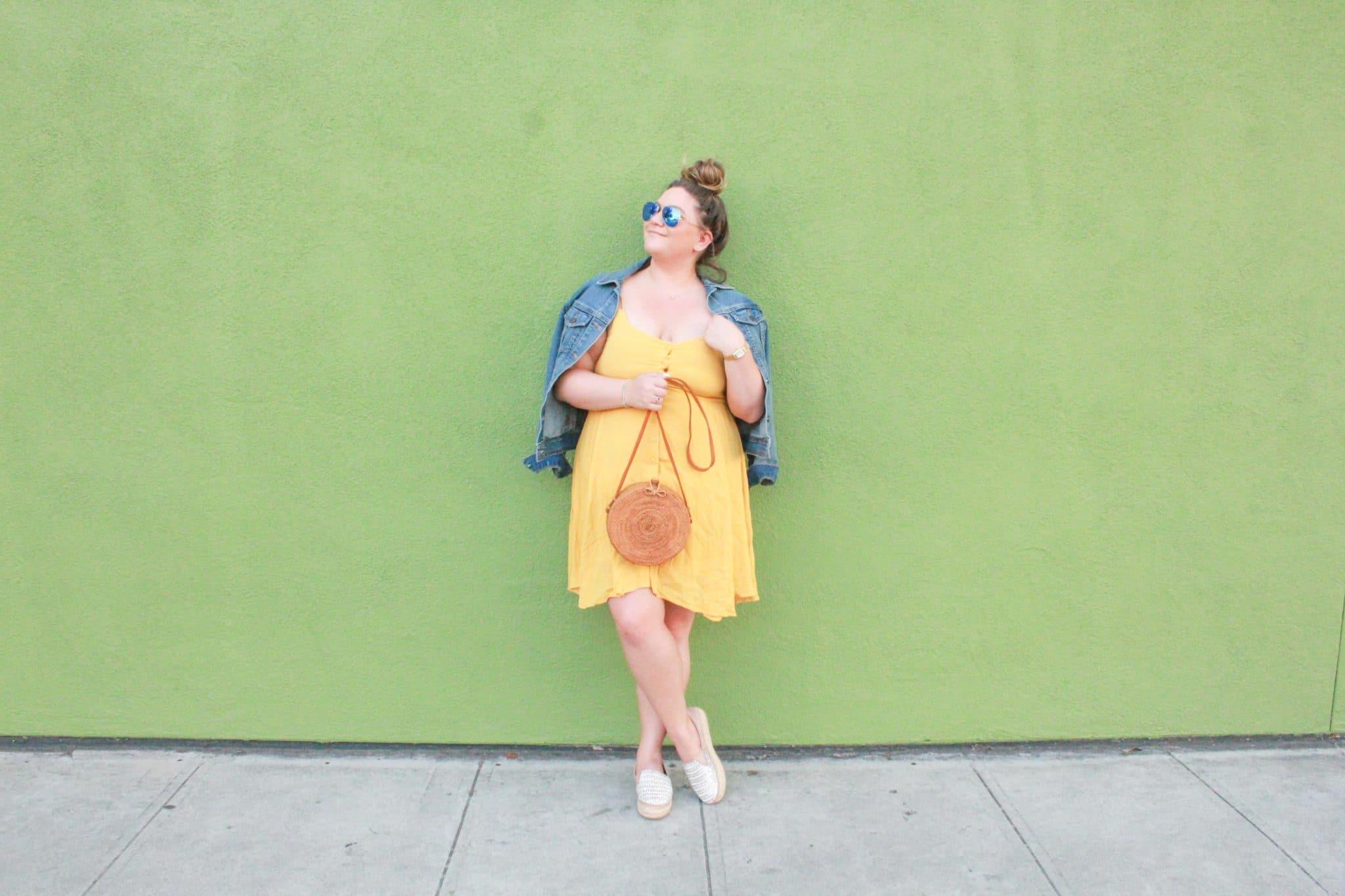 missyonmadison, missyonmadison blog, missyonmadison blogger, la blogger, fashion blog, fashion blogger, fall style, shop the mint, circle straw bag, summer trends, denim jacket, old navy denim jacket, yellow mini dress, yellow spaghetti strap dress, raybans, espadrille flats, steve madden proud, steve madden espadrilles, style blogger, messy bun, fall trends,