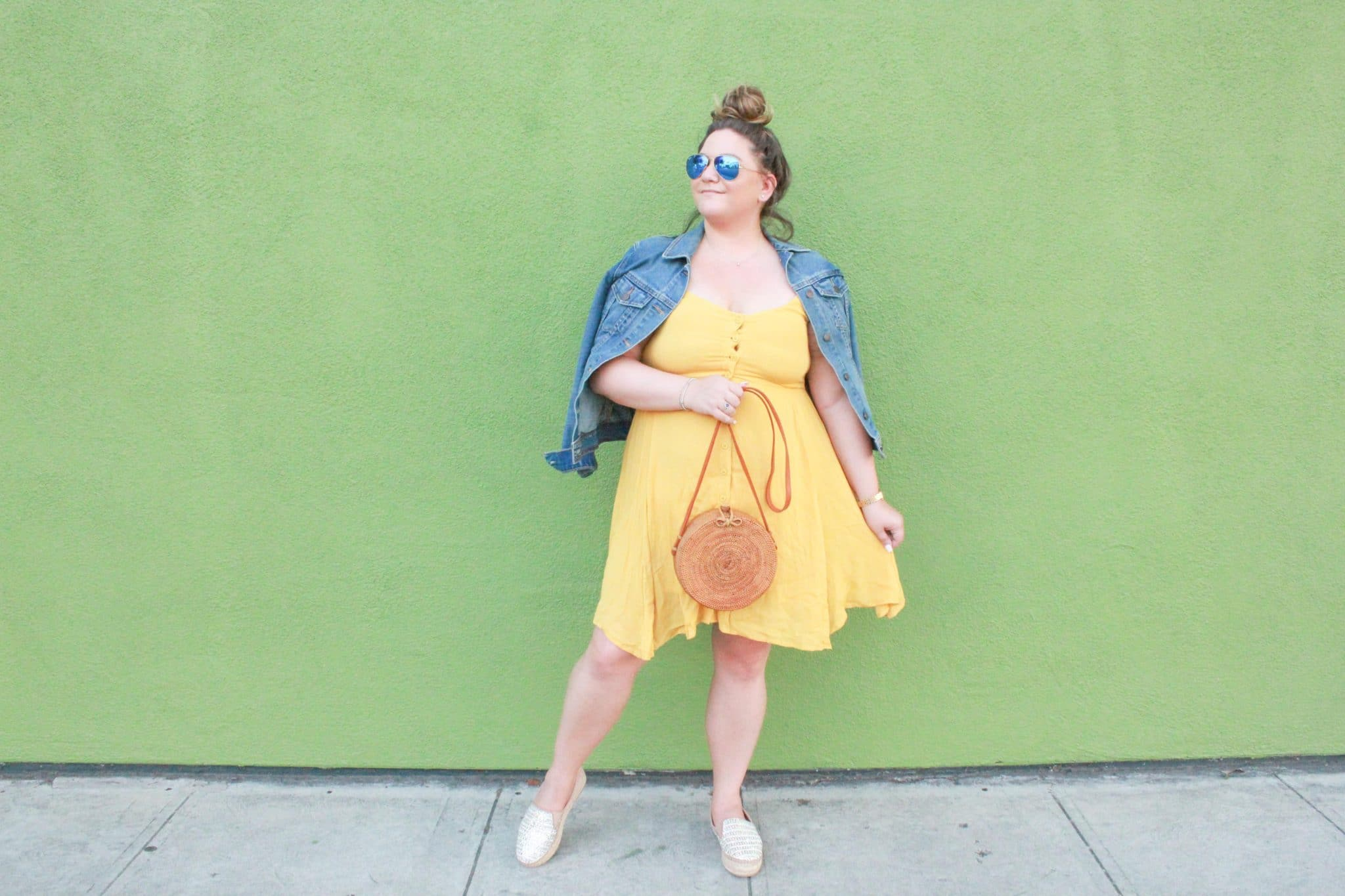missyonmadison, missyonmadison blog, missyonmadison blogger, la blogger, fashion blog, fashion blogger, fall style, shop the mint, circle straw bag, summer trends, denim jacket, old navy denim jacket, yellow mini dress, yellow spaghetti strap dress, raybans, espadrille flats, steve madden proud, steve madden espadrilles, style blogger, messy bun, fall trends,