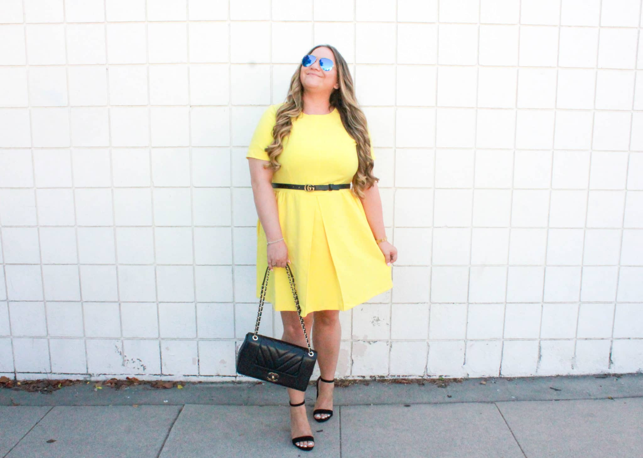 missyonmadison, missyonmadison blog, missyonmadison instagram, la blogger, fashion blogger, fashion blog, style inspo, currently wearing, melissa tierney, hairdreams extensions, hair extensions, hair extensions, balayage hair, ombre hair, black ankle strap heels, steve madden ankle strap heels, black heeled block sandals, chanel flap bag, black chanel flap bag, raybans, simply be, simply be usa, simply be yellow dress, yellow a line dress, gucci belt, thin gucci belt, summer style, fall style, blogger trends, how to style yellow, bumble bee vibes,