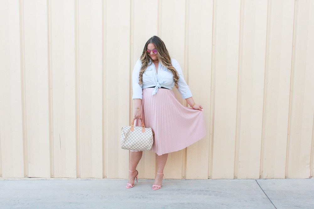 missyonmadison, missyonmadison blog, missyonmadison instagram, la blogger, fall style, fall trends, 2018 fall style, 2018 flal trends, simply be usa, simply be skirt, simply be pleated skirt, pink pleated skirt, pink pleated midi skirt, pink midi skirt, pleated midi skirt, pink ankle strap sandals, pink ankle strap heels, old navy, chambray button down, lightwash chambray button down, how to style a chambray button down shirt, how to style chambray, how to style a midi skirt, louisvuitton speedy bag, diff eyewear, melissa tierney, melissa tierney blogger, melissa tierney instagram,