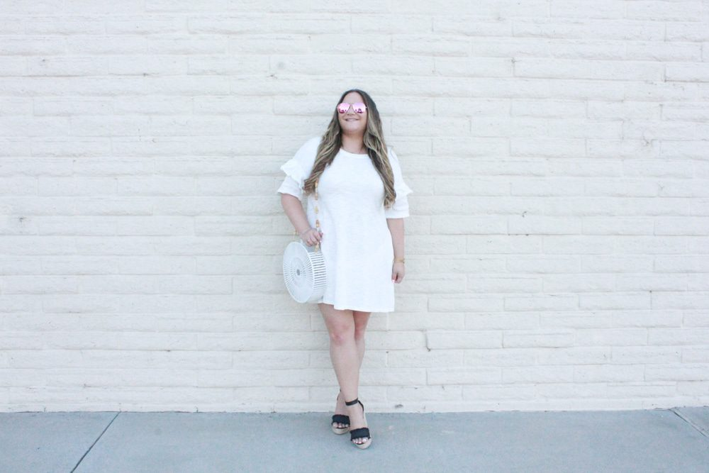 white ruffle dress, white cotton dress, white short sleeve dress, black ankle strap wedges, white round cult gaia bag, white cult gaia bag, bloglovin, wiw, whatiwore, ootd, shop dress up, diff eyewear, pink aviators, balayage hair, hair extensions, melissa tierney, la blogger, fashion blogger, how to style white for fall, how to wear white after labor day, white dresses for fall, la style, style blogger,