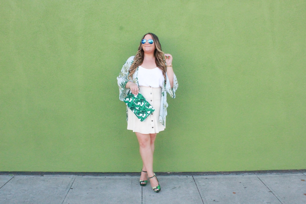 missyonmadison, missyonmadison instagram, missyonmadison blog, missyonmadison blogger, la blogger, melissa tierney, melissa tierney blog, melissa tierney blogger, style inspo, la blogger, palm print heels, palm print bag, palm print kimono, joh apparel, suede button front skirt, button front skirt, white camisole, white chiffon camisole, suede skirt, platform heels, palm print sandals, palm print handbag, palm print shoes, fashion inspo, fashion blogger, pink lily boutique, venus swimwear, shop the mint,