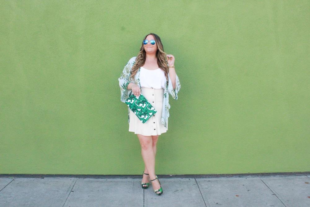 missyonmadison, missyonmadison instagram, missyonmadison blog, missyonmadison blogger, la blogger, melissa tierney, melissa tierney blog, melissa tierney blogger, style inspo, la blogger, palm print heels, palm print bag, palm print kimono, joh apparel, suede button front skirt, button front skirt, white camisole, white chiffon camisole, suede skirt, platform heels, palm print sandals, palm print handbag, palm print shoes, fashion inspo, fashion blogger, pink lily boutique, venus swimwear, shop the mint,