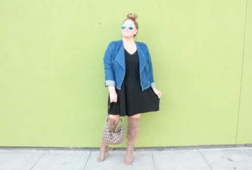 missyonmadison, missyonmadison blog, missyonmadison blogger, style blog, style blogger, fall style, fall style 2018, lysse fashion, lysse denim jacket, lysse black v neck dress, over the knee boots, nude over the knee boots, nude suede boots, melissa tierney, how to style a denim jacket for fall, how to style nude boots, fall boots, boot trends, dior saddle bag, dior bag, la blogger,