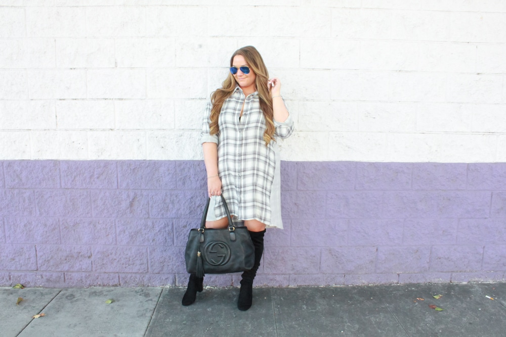 missyonmadison, missyonmadison blog, missyonmadison instagram, la blogger, fashion blog, fashion blogger, style blog, style blogger, otk boots, over the knee boots, suede over the knee boots, gucci soho tote, gucci bag, raybans, plaid shirt dress, plaid button down dress, plaid button down shirt dress, outfit inspo, fall style, 2018 fall style, fall trends, bloglovin,