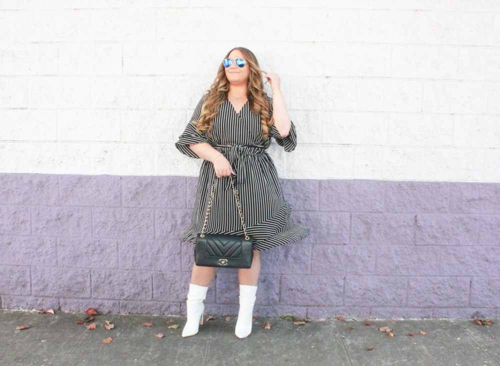 missyonmadison, missyonmadison instagram, missyonmadison blog, la blogger, missyonmadison blogger, melissa tierney, skies are blue clothing, skies are blue dress, striped wrap dress, black striped wrap dress, white boots, white booties, fall 2018 style, fall trends, fall style, currently wearing, chanel flapbag, black chanel bag, black chanel flapbag, raybans, mirrored aviators, hairdreams hair extensions, hair extensions, hairdreams, bloglovin, white heeled boots, fall outfit inspo,