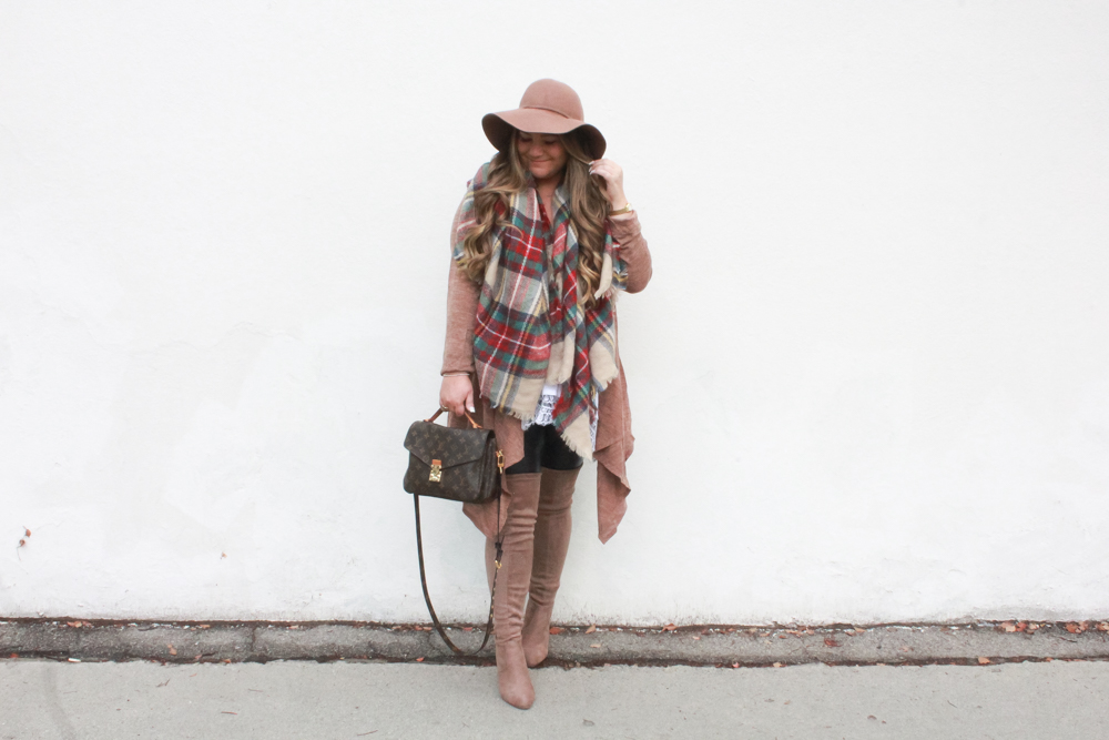 missyonmadison, missyonmadison blog, missyonmadison instagram, la blogger, melissa tierney, floppy hat, tan floppy hat, brown floppy hat, tartan blanket scarf, blanket scarf, fall style, fall 2018 style, fall accessories, tan over the knee boots, leather leggings, hue leatherette leggings, bloglovin, style blog, style blogger, hairdreams, fall trends, how to style a blanket scarf, how to wear a blanket scarf, how to wear leather leggings, how to wear over the knee boots, la blogger,