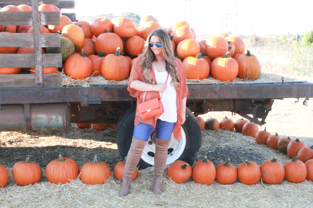 missyonmadison, missyonmadison instagram, la blogger,missyonmadison blog, melissa tierney, melissa tierney blog, melissa tierney instagram, ootd, outfit inspo, fall trends, fall 2018 style, fall style trends, over the knee boots, suede over the knee boots, skinny jeans, old navy skinny jeans, bloglovin, gigi new york, gigi new york orange crossbody, gigi new york crossbody bag, gigi new york bag, orange crossbody bag, orange handbag, white chiffon camisole, orange kimono, pink blush, la blogger, fashion blogger, style blogger,