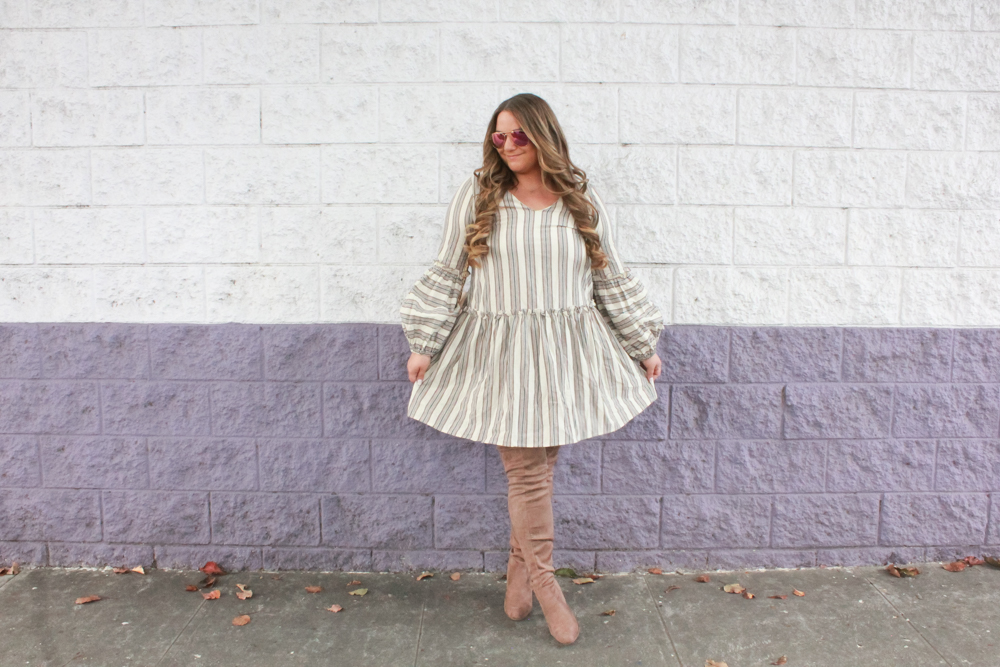 missyonmadison, missyonmadison instagram, la blogger, thanksgiving style, what to wear to thanksgiving dinner, thanksgiving outfit, thanksgiving 2018, otk boots, tan over the knee boots, beiege over the knee boots, taupe over the knee boots, chanel flap bag, chanel beige lambskin bag, beige chanel bag, brown striped fit and flare dress, hairdreams extensions, hairgoals, hair extensions, fall outfit, fall outfit inspo, fall style, 2018 fall trends,