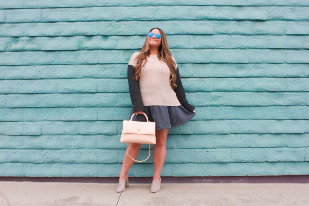 missyonmadison, missyonmadison instagram, melissa tierney, melissa tierney blog, melissa tierney blogger, la blogger, style blogger, style inspo, fall style, fall 2018 style, cecilia new york, cecilia new york roper, cecilia new york shoes, gray skater skirt, colorblock sweater, splendid la sweater, splendid la colorblock sweater, chanel flapbag, beige chanel bag, raybans, taupe mules, gray mules, fall trends,