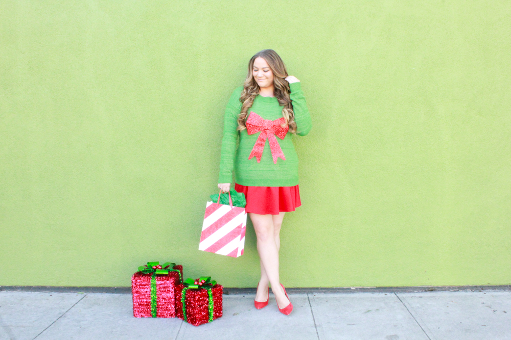 missyonmadison, missyonmadison blog, la blogger, missyonmadison instagram, melissa tierney, melissa tierney instagram, melissa tierney blog, how to style a christmas sweater, ugly christmas sweater, how to style a holiday sweater, styling a sweater for the holidays, christmas sweater guide, red pumps, red skater skirt, holiday style, holiday style guide,