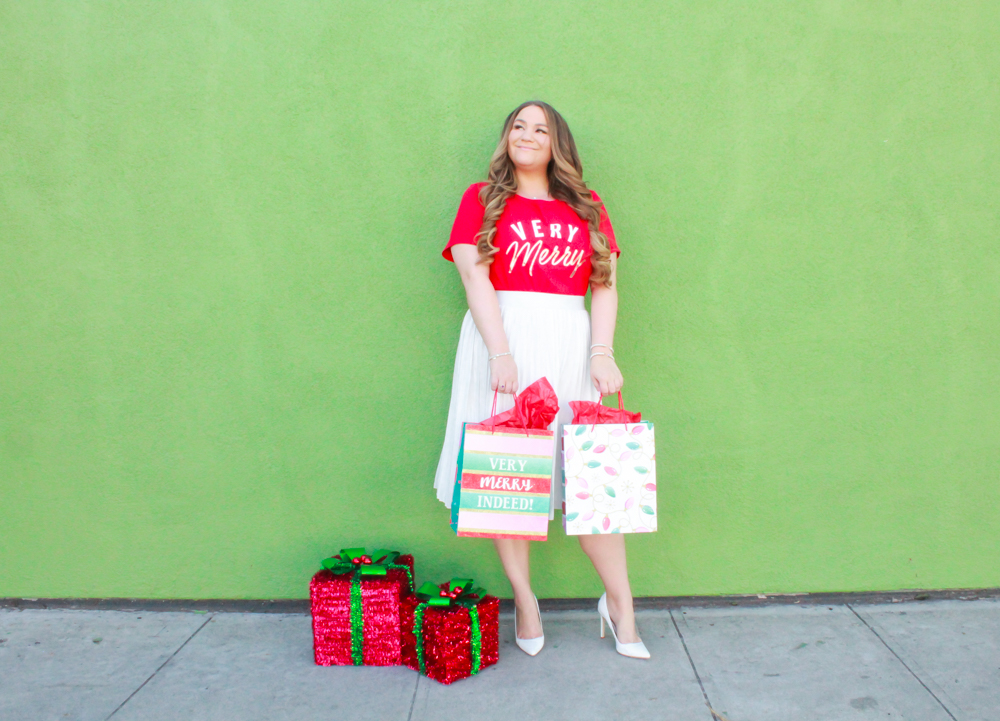 missyonmadison, missyonmadison blog, missyonmadison instagram, missyonmadison blogger, style blog, style blogger, christmas blog, christmas style, christmas outfit inspo, christmas outfit ideas, christmas style 2018, holiday style 2018, holiday style, holiday outfit inspo, red pumps, white midi skirt, christmas graphic tee, holiday graphic tee, very merry graphic tee, bloglovin, christmas style, red heels, white skirt, white pleated midi skirt,
