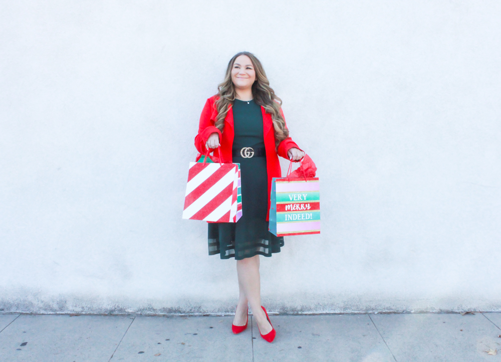 missyonmadison, missyonmadison blog, la blogger, missyonmadison instagram, fashion blogger, outfit inspo, holiday outfit inspo, holiday outfit ideas, red coat, red button down coat, green calvin klein dress, green a line dress, green dress, red pumps, red suede pumps, red heels, holiday outfit, christmas outfit, christmas outfit ideas, christmas style, holiday style, nordstrom, red coat nordstrom, 2018 holiday inspo, 2018 holiday ideas, 2018 outfit goals,
