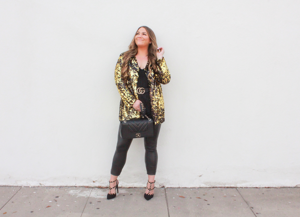 missyonmadison, missyonmadison instagram, sequin blazer, how to style sequins, sparkly blazer, nye outfit inspo, nye 2019, new years eve outfit inspo, new years eve outfit inspiration, nye outfit ideas, black faux leather leggings, fuax leather leggings, melissa tierney, chiffon camisole, black lace camisole, gucci pearl belt, pearl gucci belt, rockstud pumps, black studded pumps, black rockstud pumps, hue leatherette leggings, sequin blazer rainbow shops, rainbow shops, chanel flapbag, chanel bag, black chanel flap bag, what to wear for new years eve,