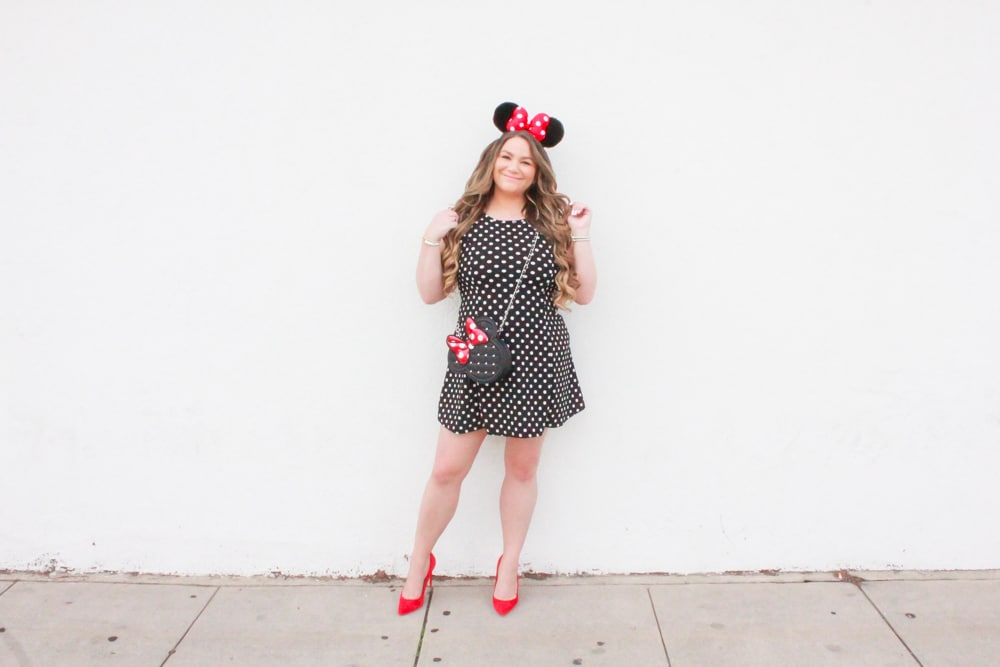 missyonmadison, missyonmadison blog, missyonmadison instagram, la blogger, missyonmadison blogger, melissa tierney, style blog, style blogger, polka dot day, national polka dot day, polka dot fit and flare dress, polka dot dress, red heels, red pumps, red suede pumps, minnie mouse purse, minnie mouse bag, minnie mouse ears, minnie mouse headband, minnie mouse outfit, fashion blogger, fashion blog,