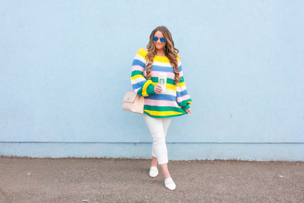 missyonmadison, missyonmadison blog, la blogger, missyonmadison instagram, melissa tierney, melissa tierney blog, melissa tierney blogger, melissa tierney instagram, white skinny jeans, white rockstar jeans, white mules, striped sweater, rainbow striped sweater, chanel bag, beige chanel bag, quilted chanel bag, nude chanel bag, old navy rockstar jeans, pink lily striped sweater, winter to spring outfit, spring outfit, winter outfit, fashion blogger, style blogger,
