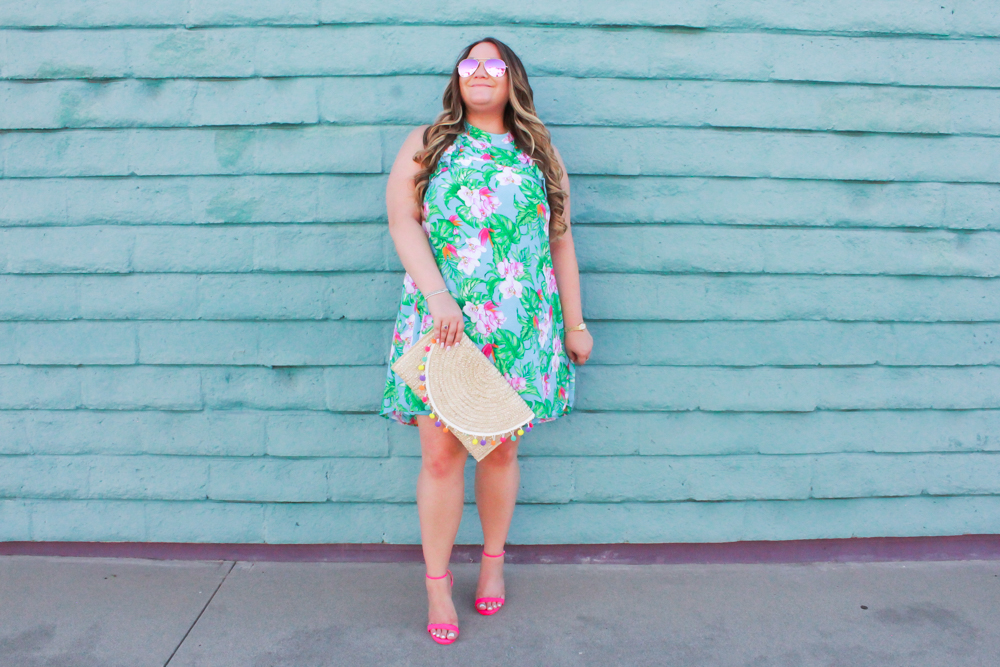 missyonmadison, missyonmadison blog, missyonmadison instagram, la blogger, tropical print dress, tropical vacation dress, tropical print vacation dress, pink ankle strap heels, pink ankle strap sandals, pom pom straw clutch, straw clutch, pom pom clutch, raybans, pink aviators, pink raybans, florida getaway, florida travel, travel style, vacation style 2019, travel style inspo, what to wear on vacation, vacation style guide, melissa tierney, melissa tierney blog,
