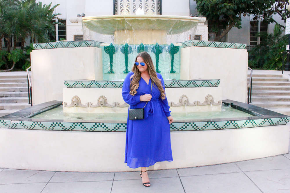 missyonmadison, missyonmadison blog, missyonmadison blogger, la blogger, fashion blog, fashion blogger, style blog, style blogger, melissa tierney, melissa tierney blog, melissa tierney blogger, cobalt blue dress, blue maxi dress, blue maxi wrap dress, cobalt blue wrap maxi dress, black ankle strap sandals, black ankle strap heels, gucci mini bag, gucci black mini bag, gucci evening bag, gucci chain on wallet, how to wear a maxi dress, how to style a pop of color,