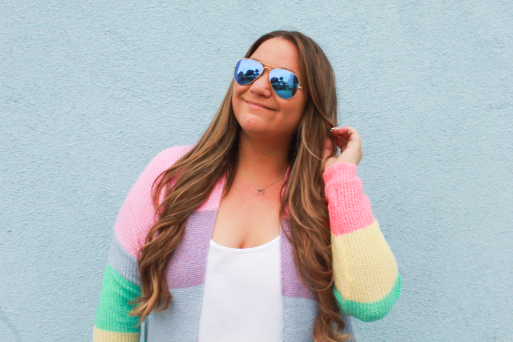 missyonmadison, missyonmadison blog, missyonmadison blogger, la blogger, missyonmadison instagram, melissa tierney, melissa tierney instagram, melissa tierney blogger, rainbow striped cardigan, rainbow striped sweater, rainbow cardigan, white skinny jeans, old navy white skinny jeans, old navy white rockstar jeans, teal pumps,teal suede pumps, gucci camera bag, blue gucci camera bag, gucci blue crossbody bag, white chiffon camisole, raybans, spring outfit, spring outfit inspo, spring outfit ideas, how to wear pops of color,
