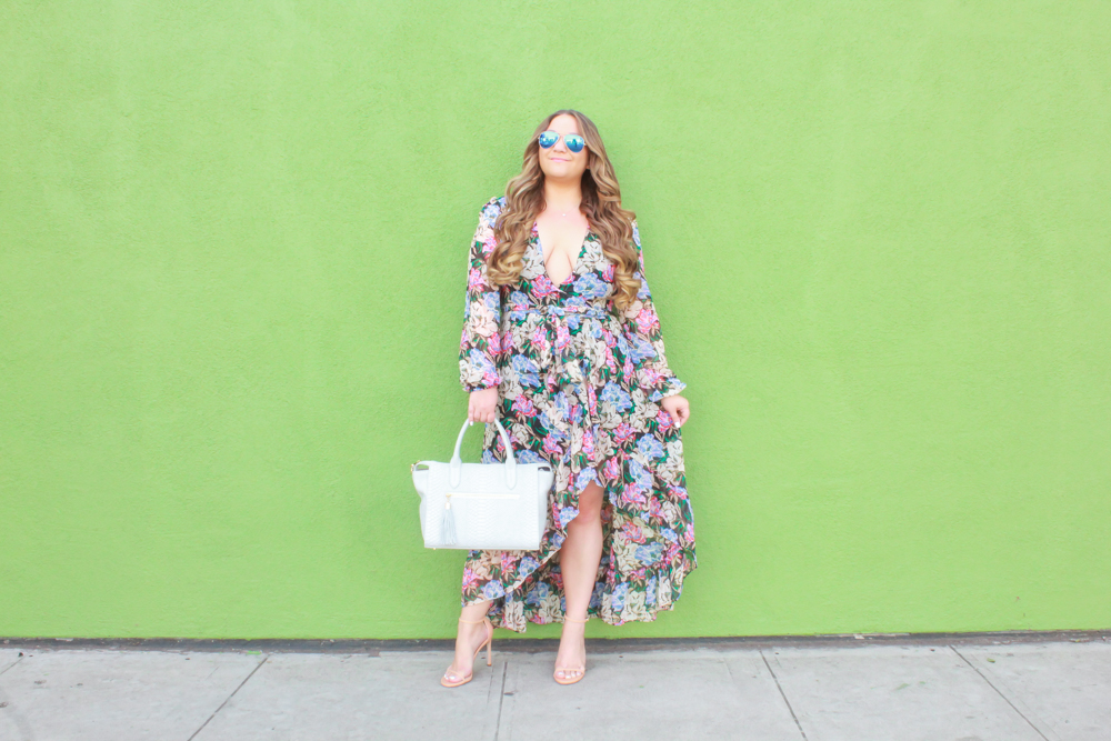 missyonmadison, missyonmadison blog, la blogger, missyonmadison instagram, melissa tierney, wayf, wayf dress, wayf dress nordstrom, wayf wrap dress, floral wrap dress, wayf floral dress, nude stuart weitzman nudist sandal, stuart weitzman heels, gigi new york bag, gigi new york satchel, spring style, spring 2019 style, outfit ideas,