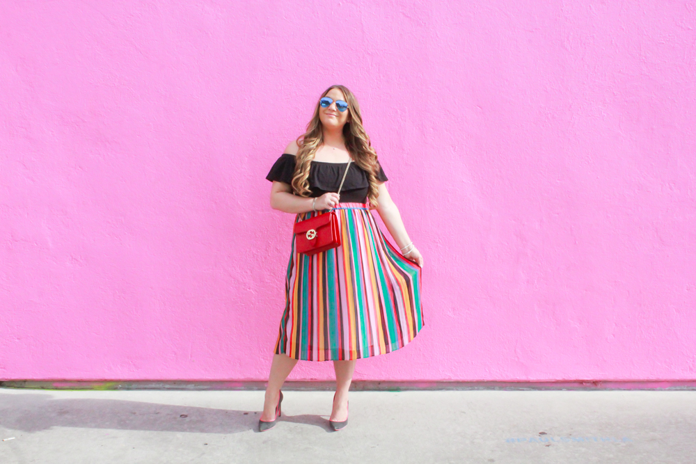 rainbow striped midi skirt, rainbow striped skirt, rainbow skirt, rainbow striped pleated skirt, gray suede pumps, gray pumps, black off the shoulder bodysuit, black frill bodysuit, red gucci bag, red gucci marmont bag, red gucci crossbody bag, la blogger, missyonmadison, missyonmadison blog, missyonmadison instagram, style inspo, style blogger, style blog, raybans, fashion inspo, melissa tierney, melissa tierney instagram, outfit ideas,
