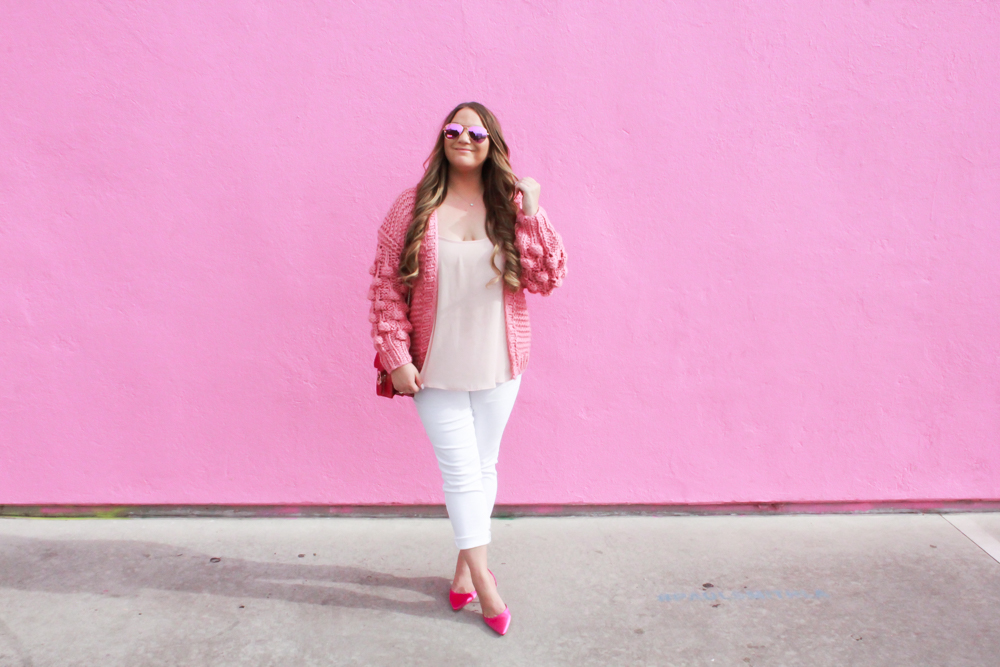 missyonmadison, missyonmadison instagram, missyonmadison blog, la blogger, fashion blog, fashion blogger, melissa tierney, melissa tierney blogger, melissa tierney instagram, pink manolo blahnik pumps, pink manolo blahnik, gucci bag, red gucci bag, red gucci crossbody bag, white skinny jeans, white jeans, pink chiffon camisole, pink pom pom cardigan, pom pom cardigan, winter style, winter trends 2019, 2019 fashion trends, winter outfit ideas, valentines day outfit inspo, vday outfit ideas,