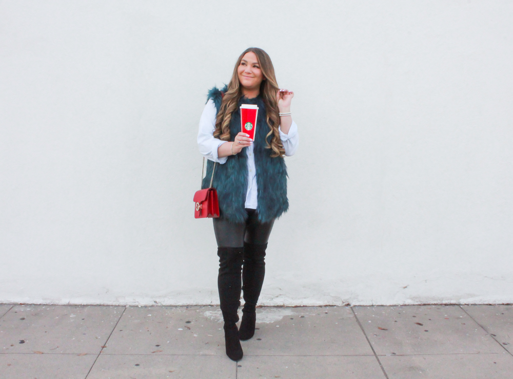 missyonmadison, missyonmadison instagram, la blogger, missyonmadison blog, melissa tierney, missyonmadison blogger, chambray button down shirt, chambray shirt, leather leggings, faux leather leggings, black suede otk boots, black over the knee boots, black suede over the knee boots, red gucci bag, starbucks holiday cup, gucci bag, green faux fur vest, teal faux fur vest, bloglovin,