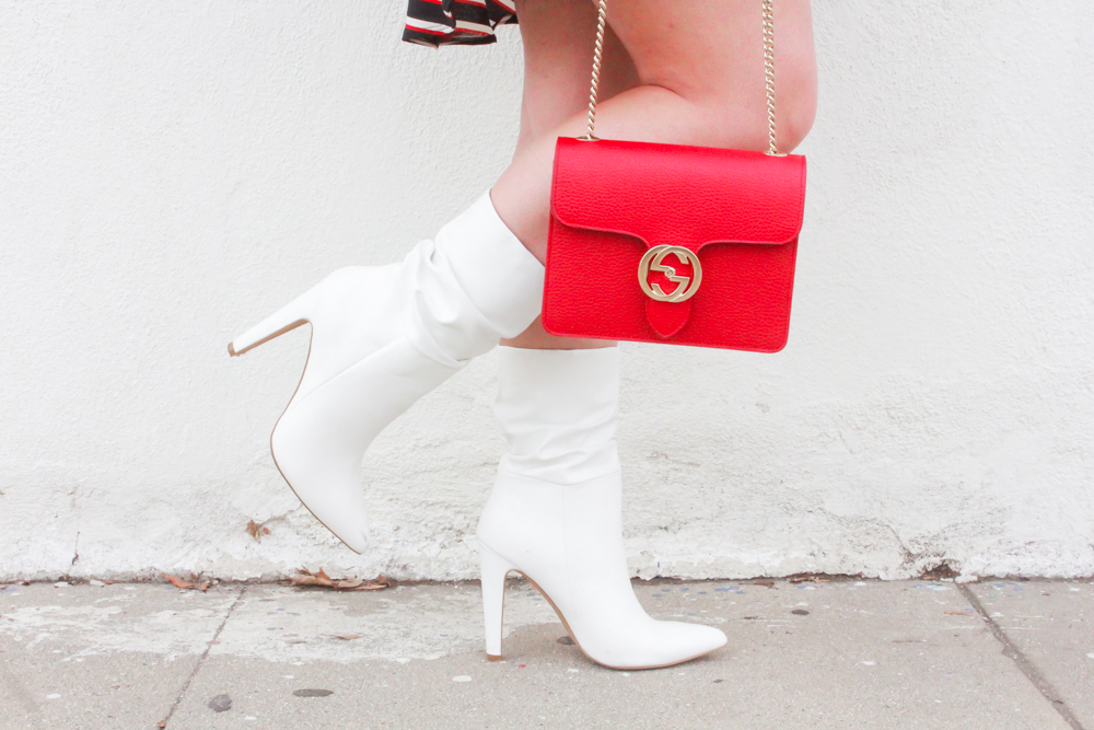 wrap dress, striped wrap dress, white boots, white ankle boots, white boots for winter, winter white, striped dress, gucci bag, red gucci bag, missyonmadison, missyonmadison instagram, missyonmadison blog, la blogger, fashion blogger, style post, outfit inspo, outfit ideas, what to wear, fashion blogger, melissa tierney, melissa tierney instagram,